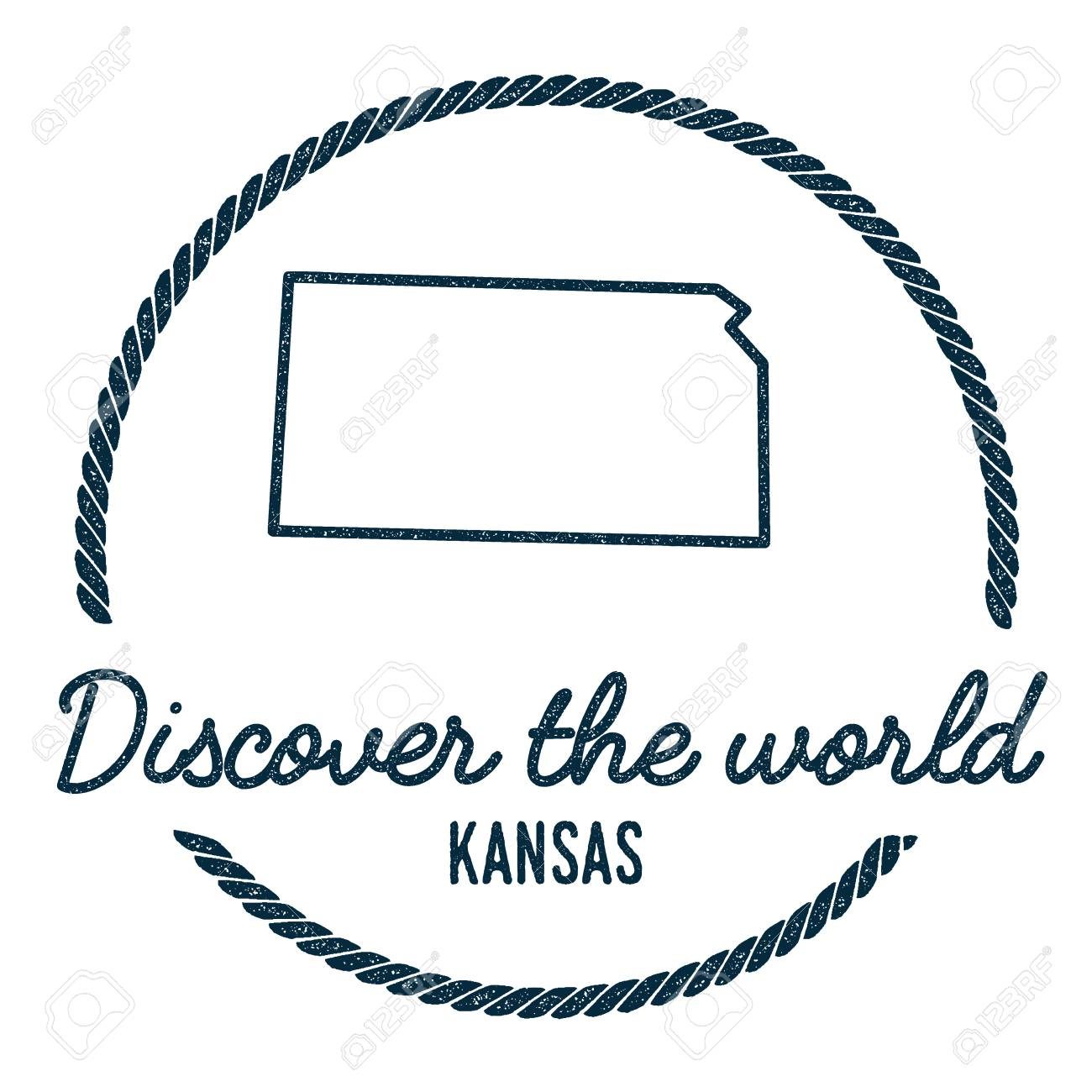 Kansas Map Outline Vintage Discover The World Rubber Stamp With