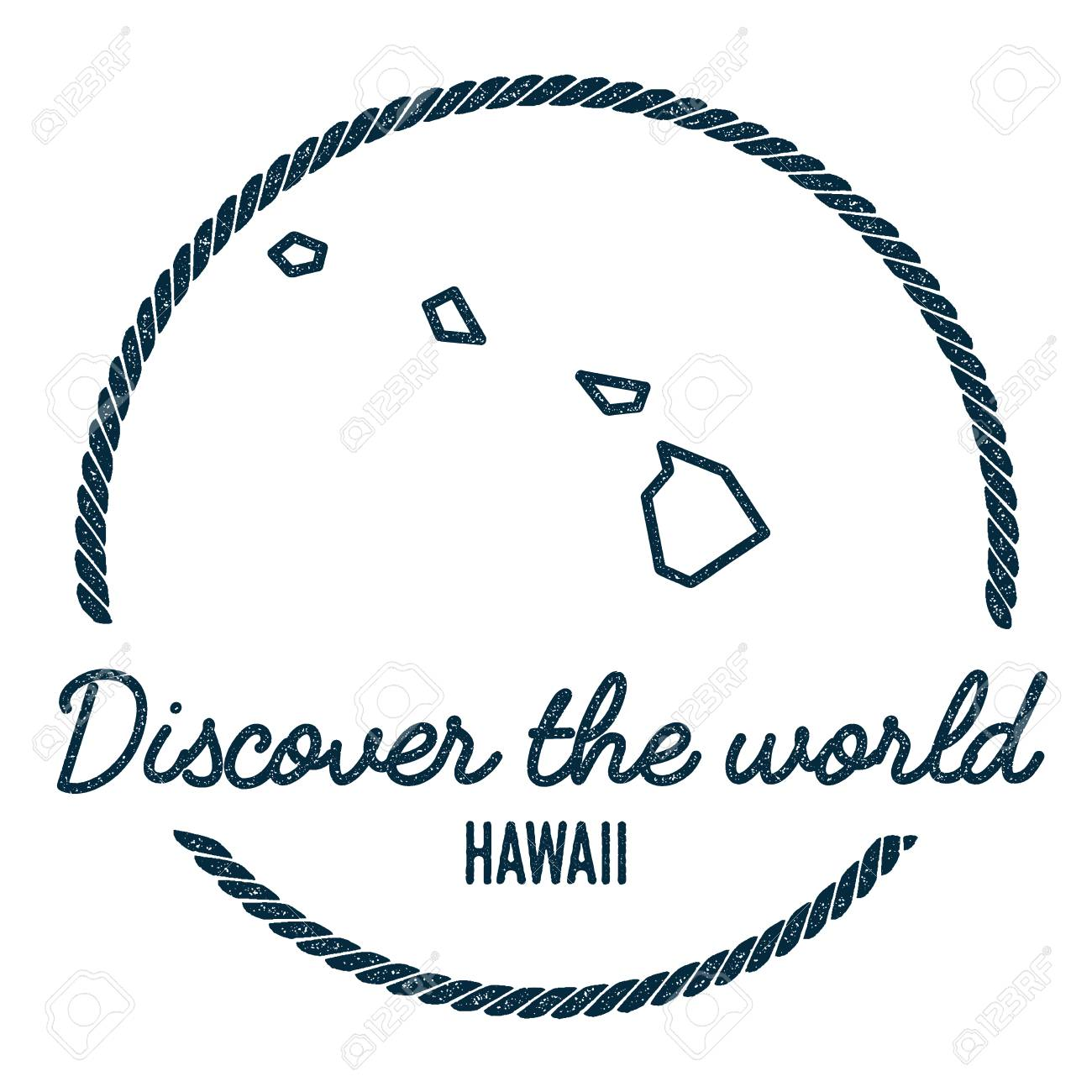 Hawaii Map Outline Vintage Discover The World Rubber Stamp With