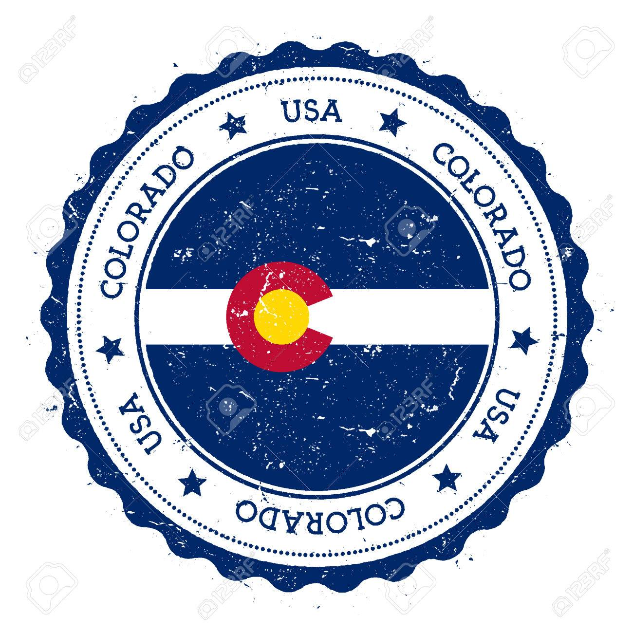 Colorado Flag Badge Grunge Rubber Stamp With Vintage Travel Circular