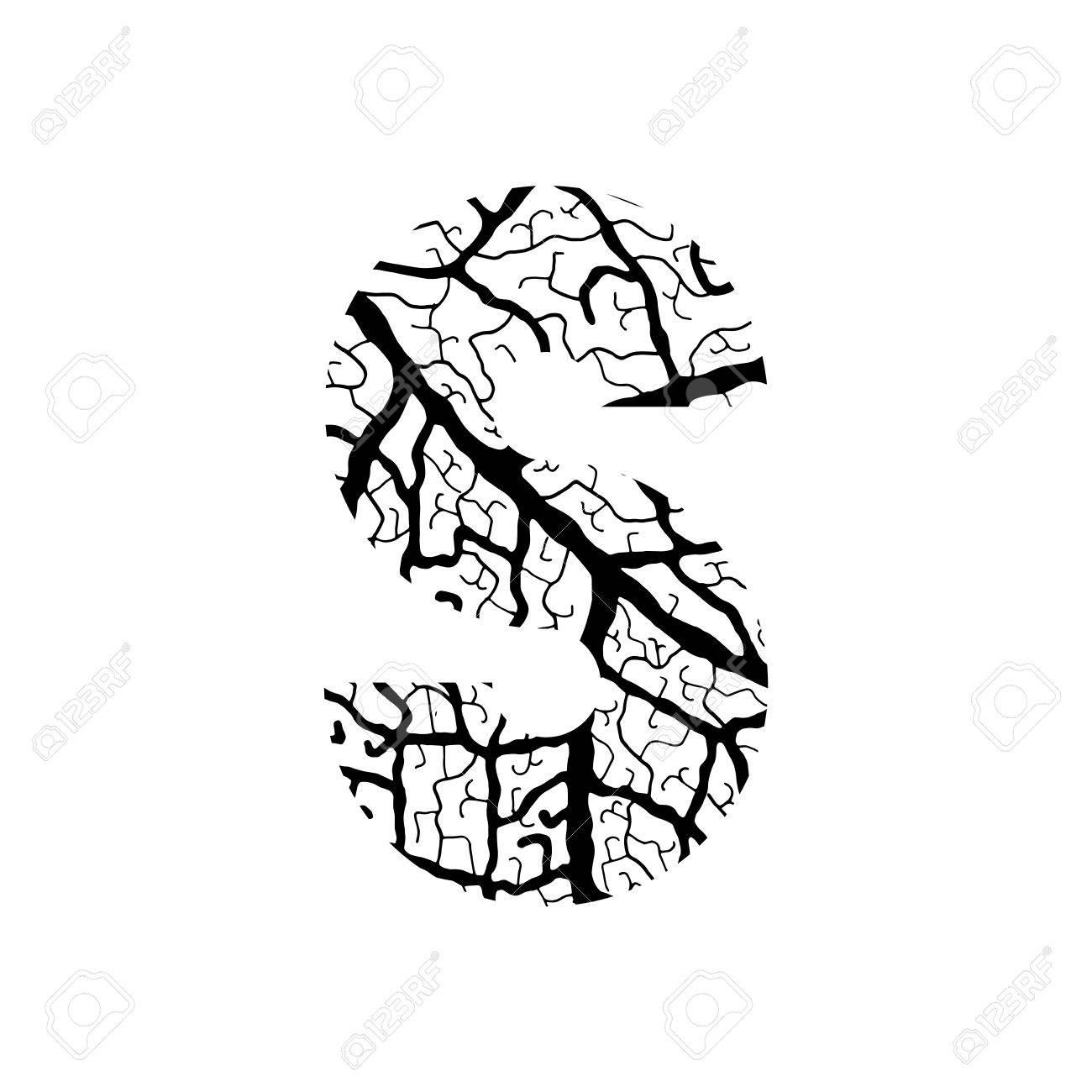 Nature Alphabet Ecology Decorative Font Capital Letter S Filled