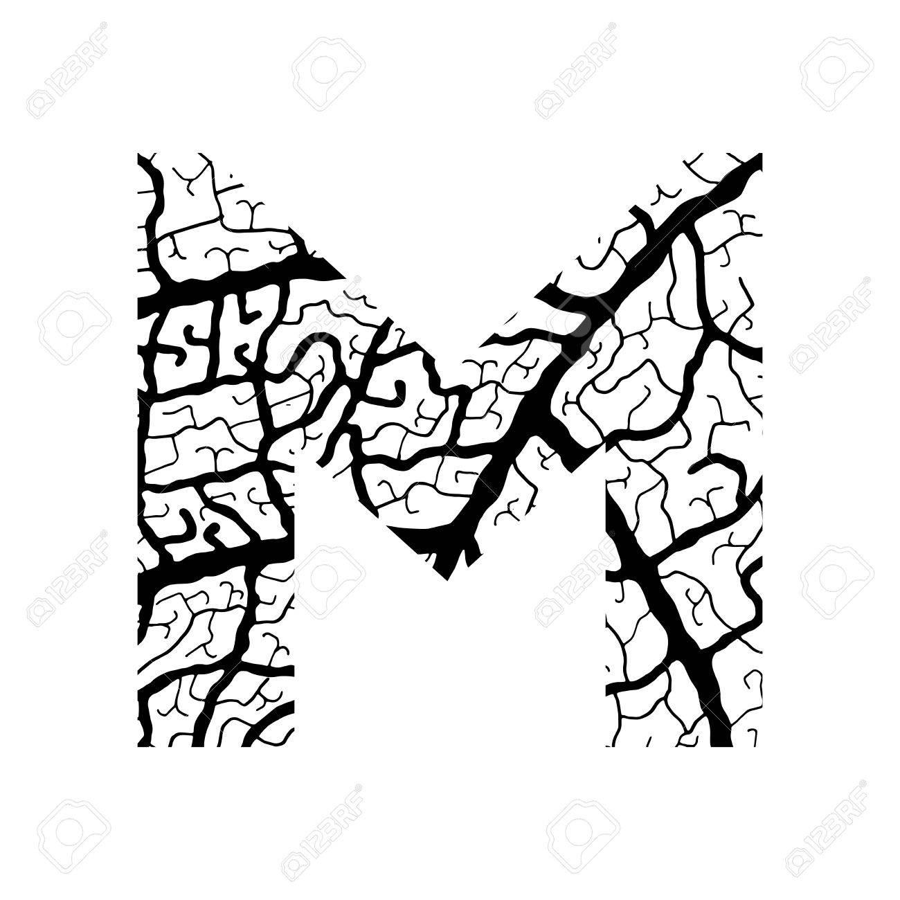 Nature Alphabet Ecology Decorative Font Capital Letter M Filled With Leaf Veins Pattern Black
