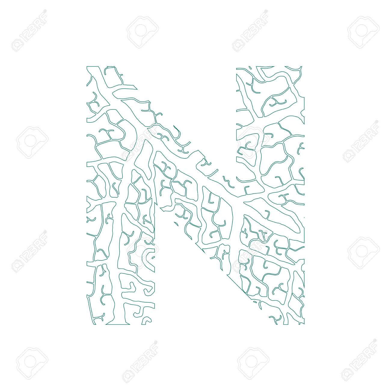 Nature Alphabet Ecology Decorative Font Capital Letter N Filled With Leaf Veins Pattern Green