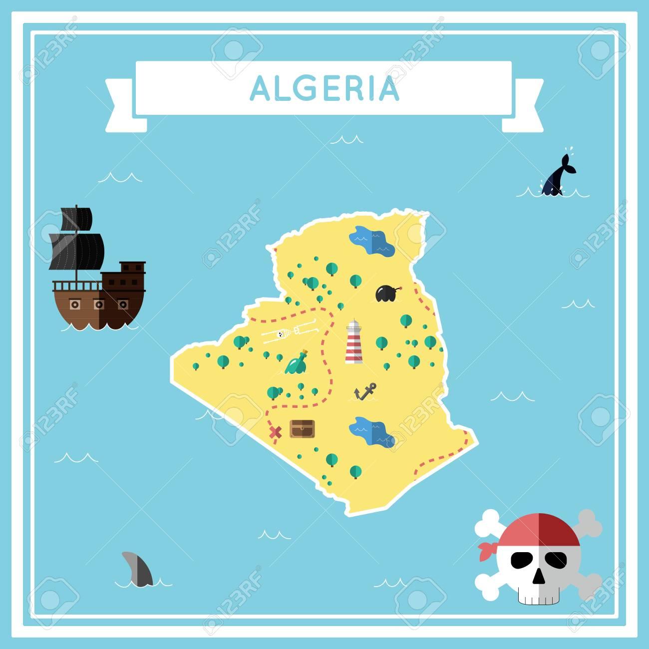 Carte Au Tresor Plate De L Algerie Dessin Anime Colore Avec Des