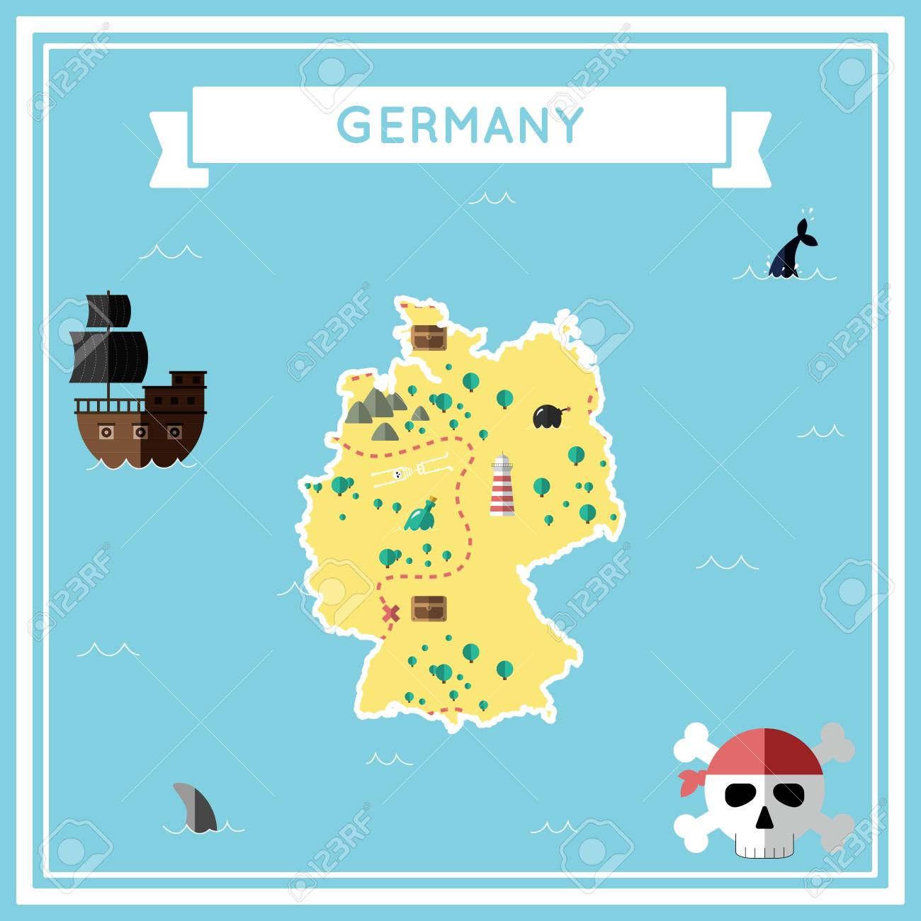 Cartoon Map Of Germany.Flat Treasure Map Of Germany Colorful Cartoon With Icons Of