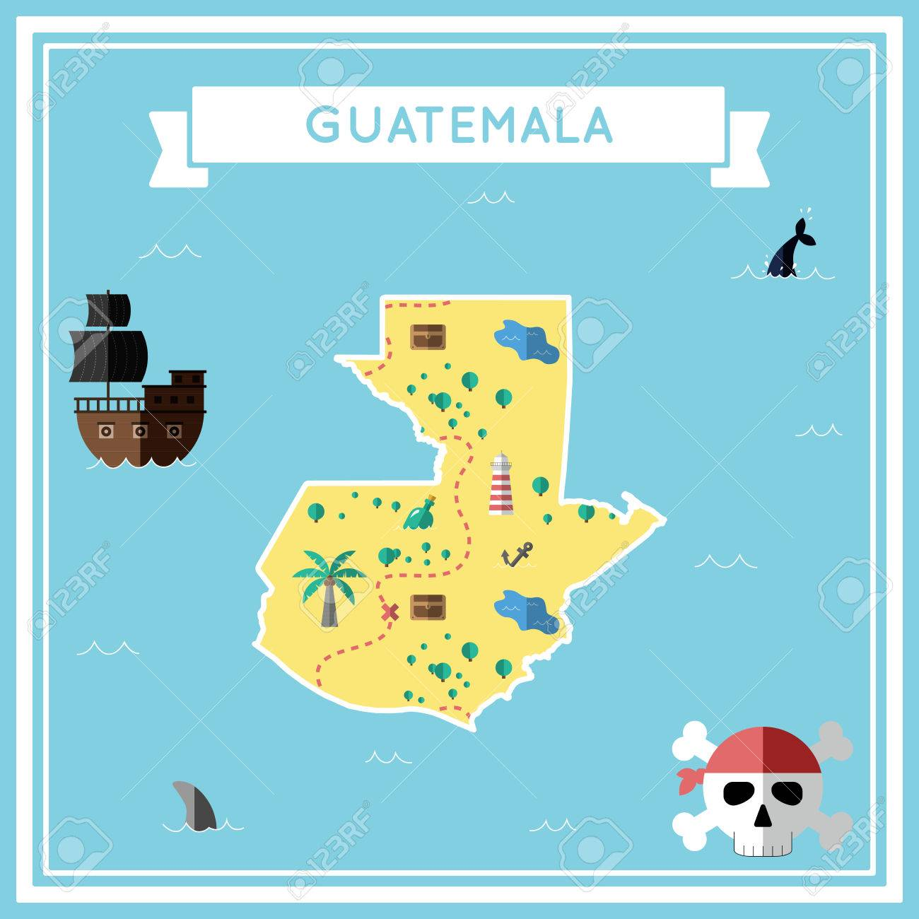 Flat Treasure Map Of Guatemala. Colorful Cartoon With Icons Of ...