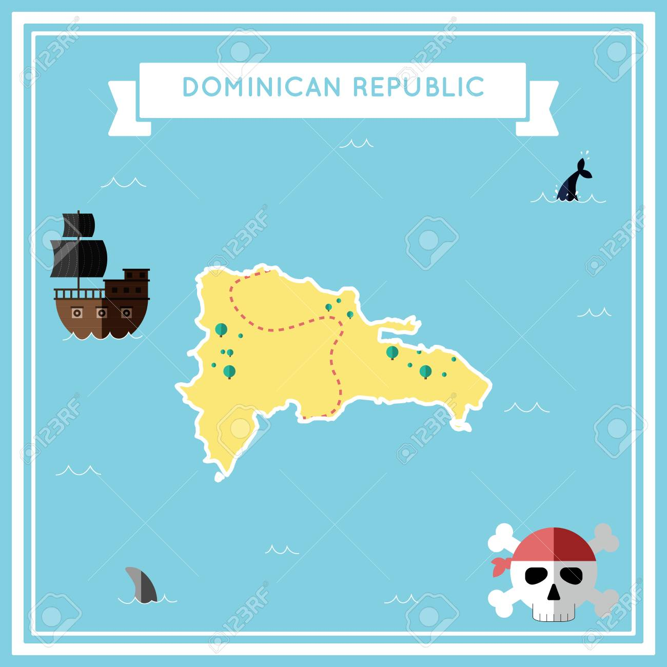 Flat treasure map of Dominican Republic. Colorful cartoon with..