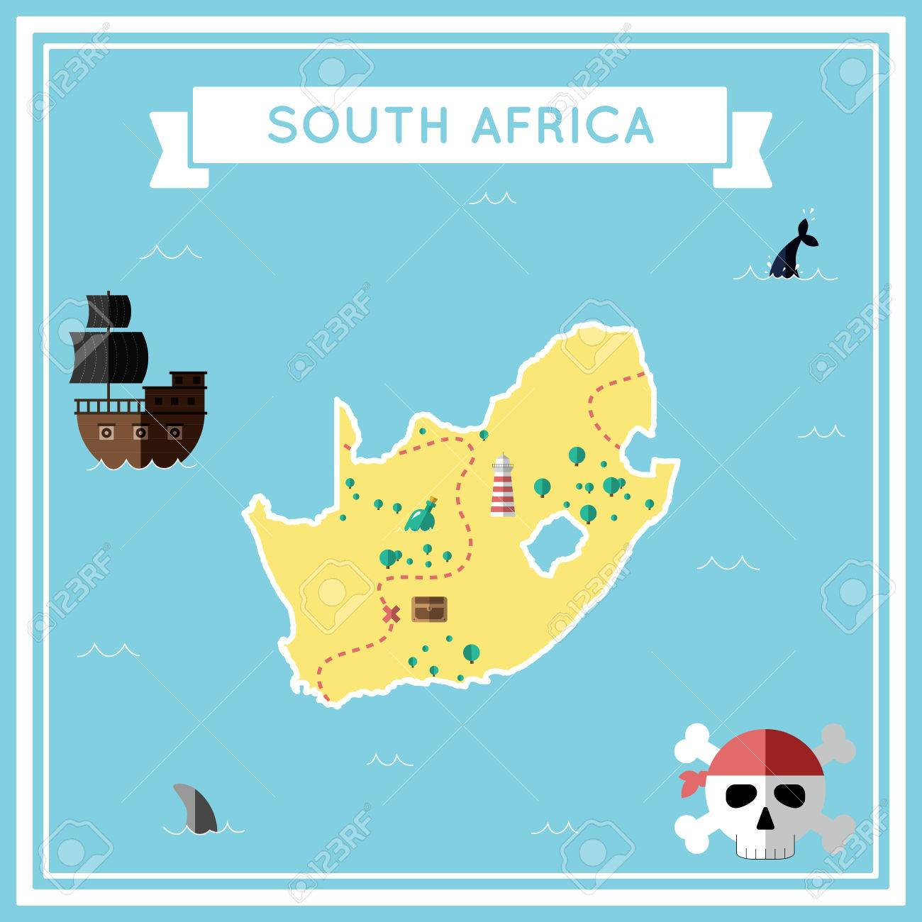 Flat Treasure Map Of South Africa Colorful Cartoon With Icons