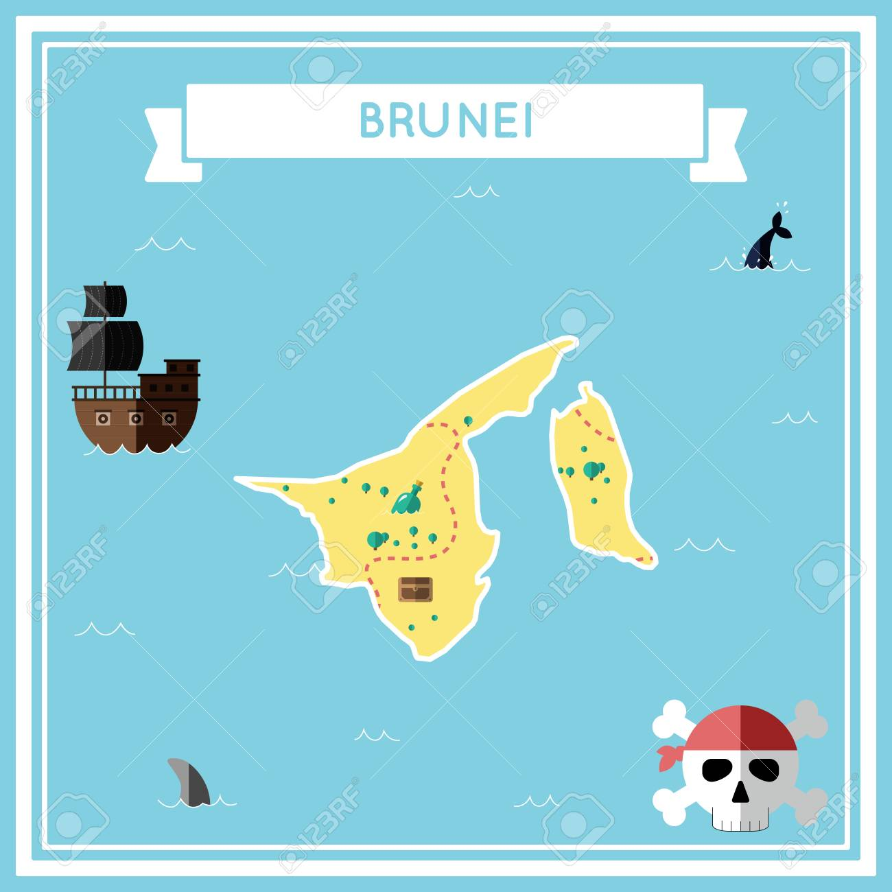 Picture of: Flat Treasure Map Of Brunei Darussalam Colorful Cartoon With Royalty Free Cliparts Vectors And Stock Illustration Image 81917193