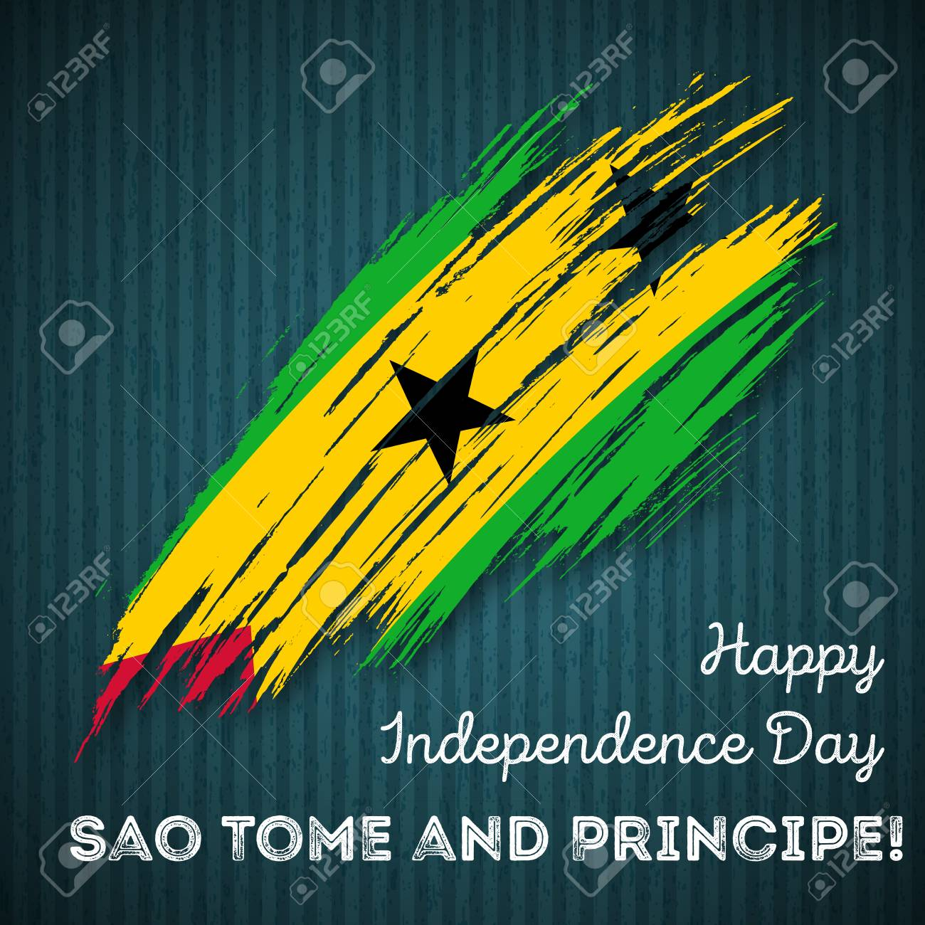 Sao Tome and Principe Independence Day Patriotic Design. Expressive Brush Stroke in National Flag Colors on dark striped background. Happy Independence Day Sao Tome and Principe Vector Greeting Card. - 84280637