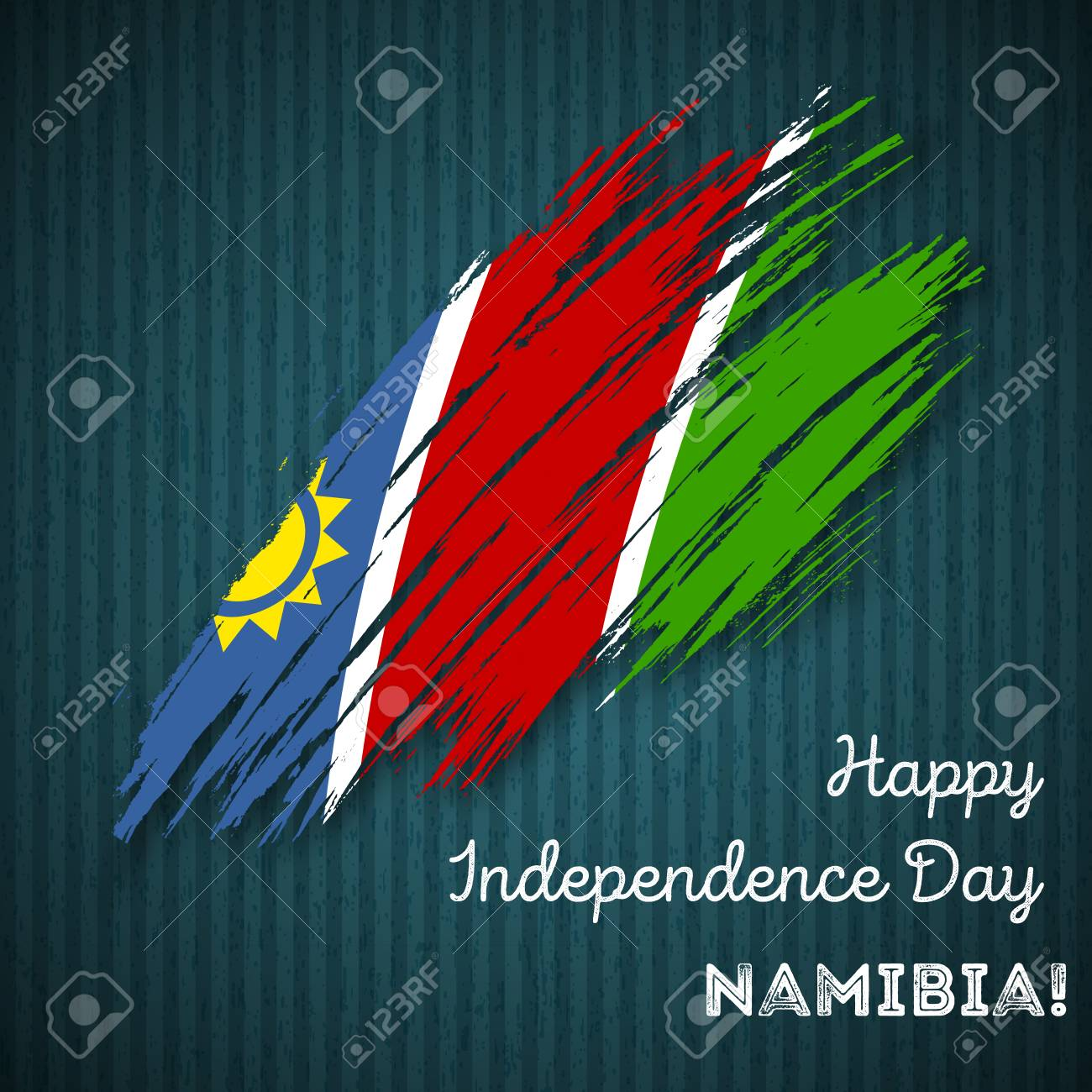 Namibia Independence Day Patriotic Design  Expressive Brush Stroke