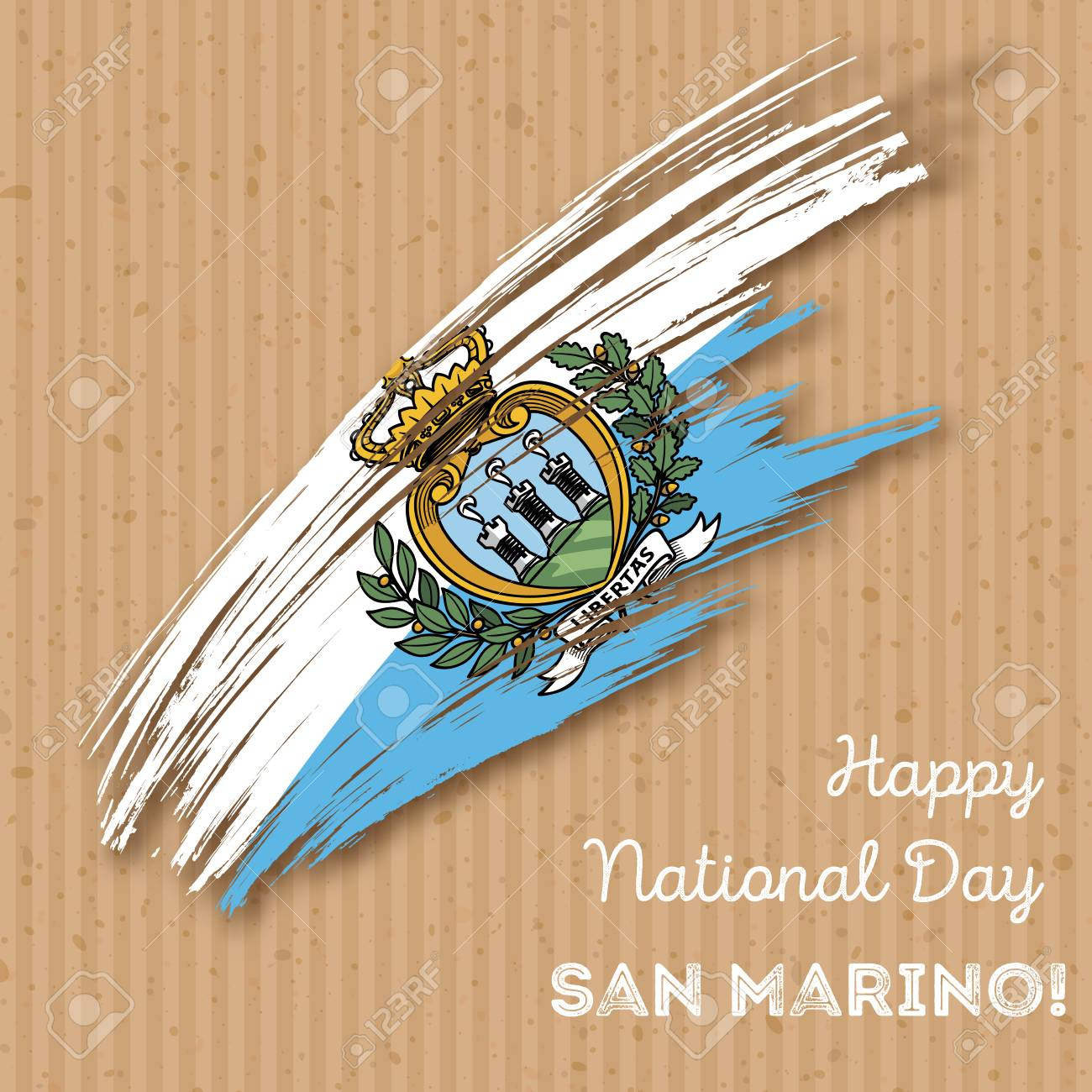 San Marino Independence Day Patriotic Design. Expressive Brush ...