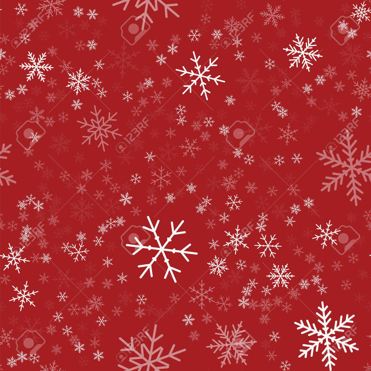 Red Christmas Background.White Snowflakes Seamless Pattern On Red Christmas Background