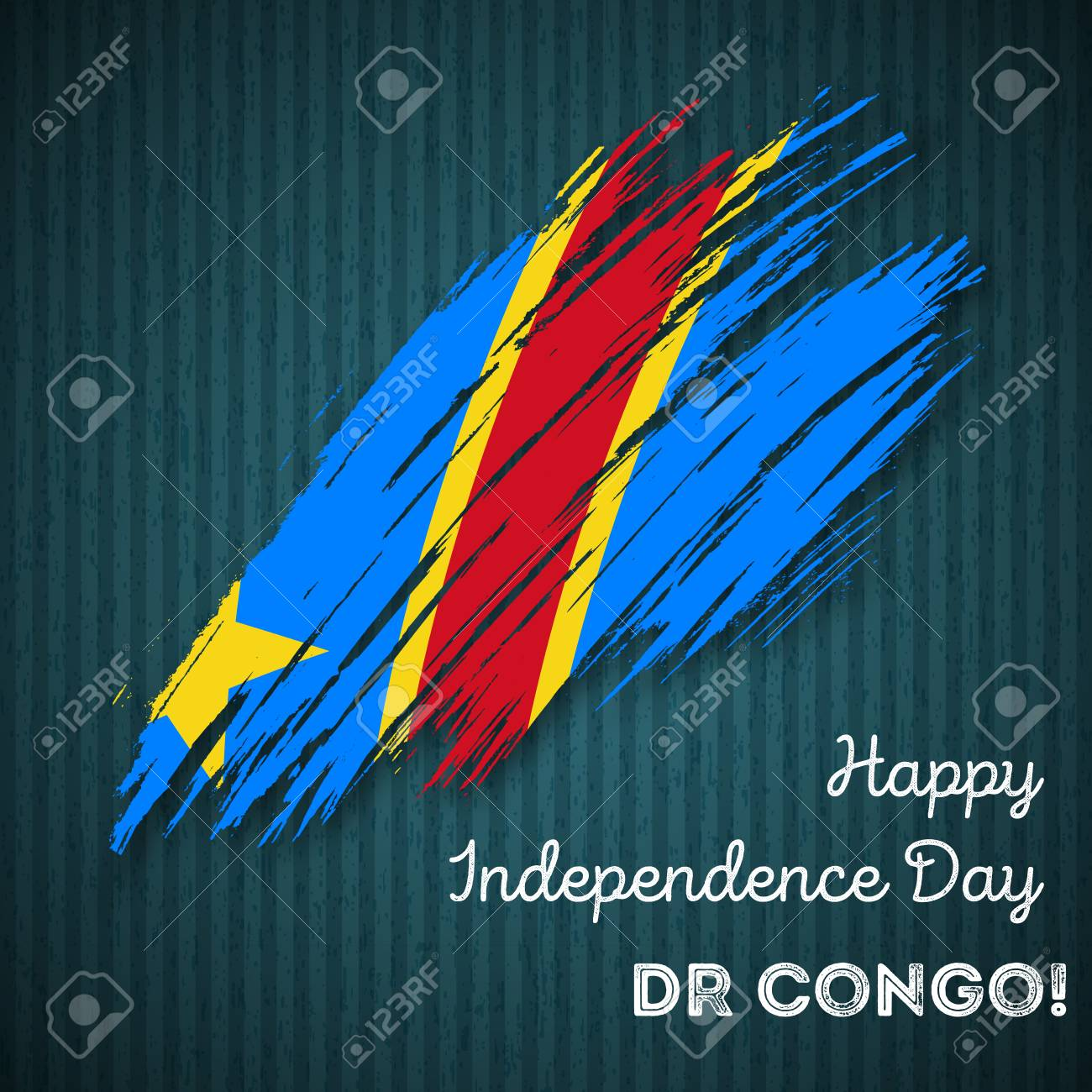 DR Congo Independence Day Patriotic Design Expressive Brush - Congo independence day