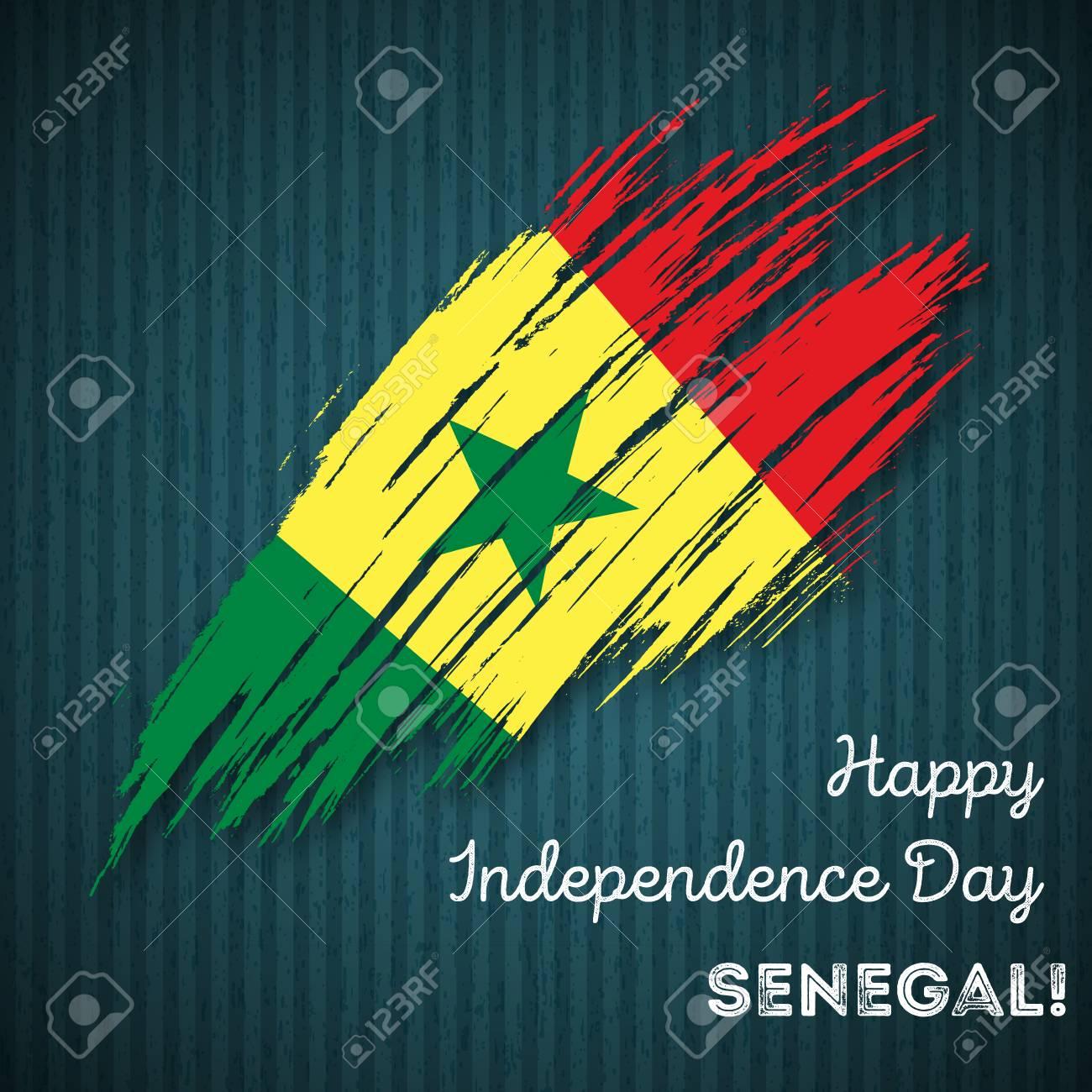 Senegal independence day patriotic design expressive brush stroke senegal independence day patriotic design expressive brush stroke in national flag colors on dark striped m4hsunfo