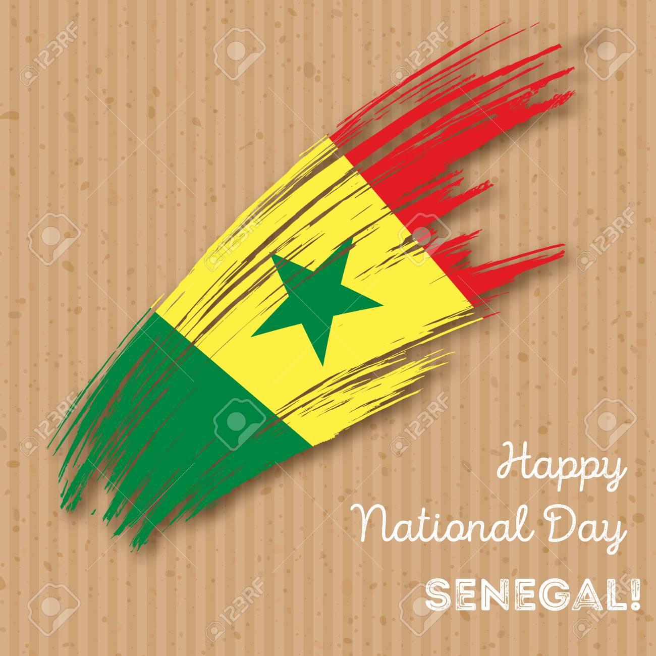 Senegal independence day patriotic design expressive brush stroke senegal independence day patriotic design expressive brush stroke in national flag colors on kraft paper m4hsunfo