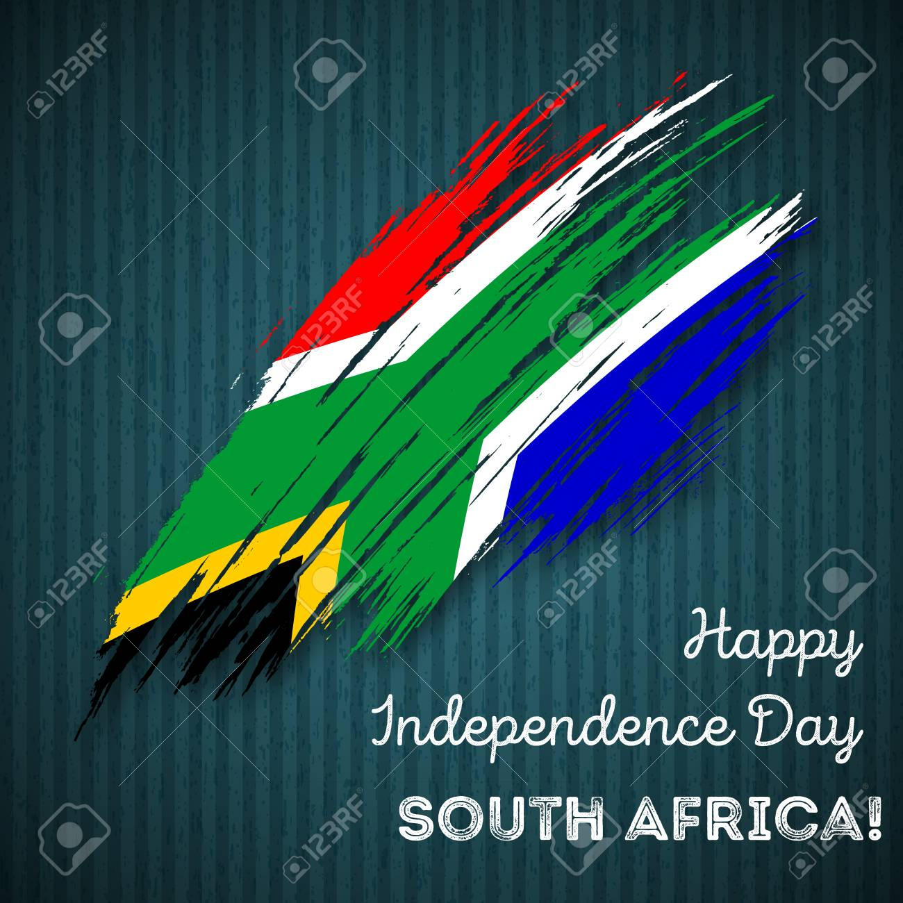 South Africa Independence Day Patriotic Design Expressive Brush