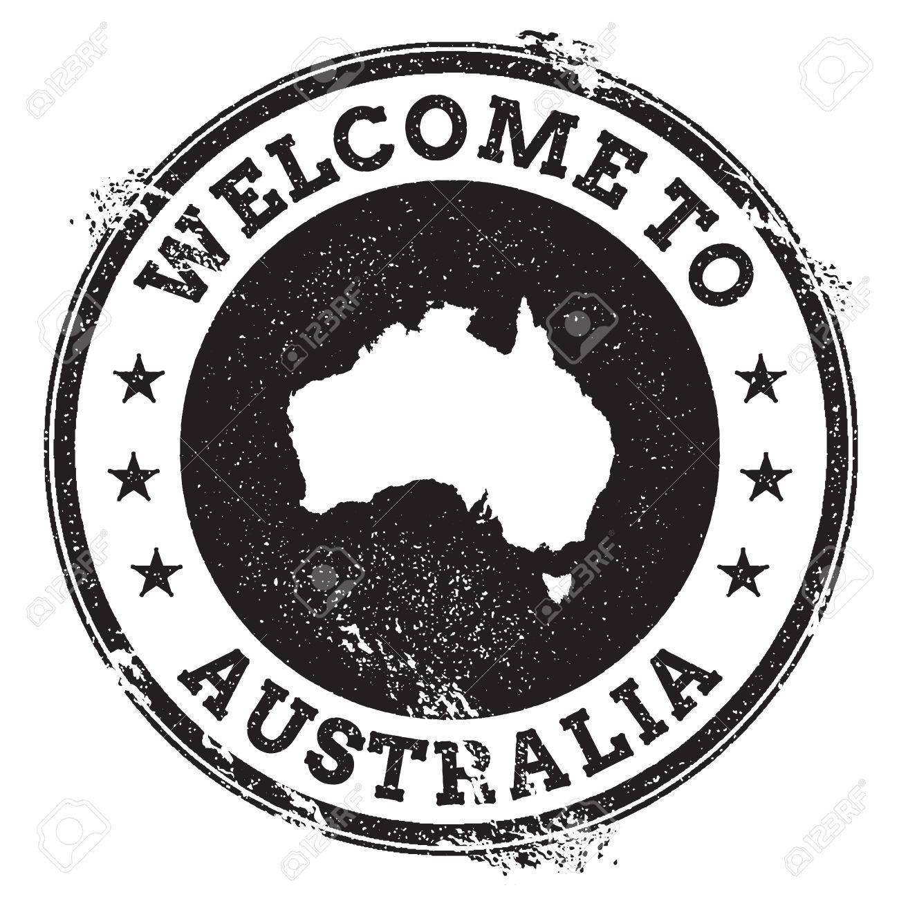 Vintage Passport Welcome Stamp With Australia Map Grunge Rubber