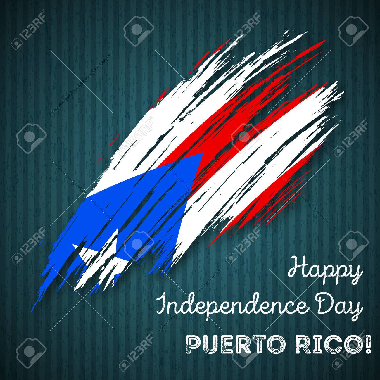 Puerto Rico Independence Day Patriotic Design Expressive Brush Stroke In National Flag Colors On Dark