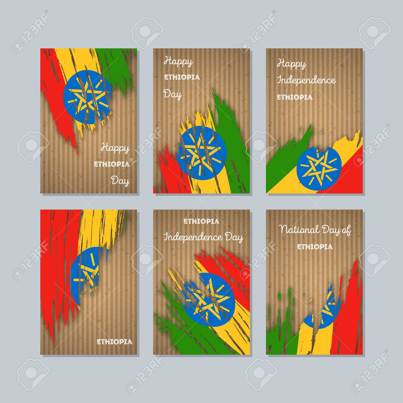 Ethiopia Patriotic Cards For National Day Expressive Brush Stroke