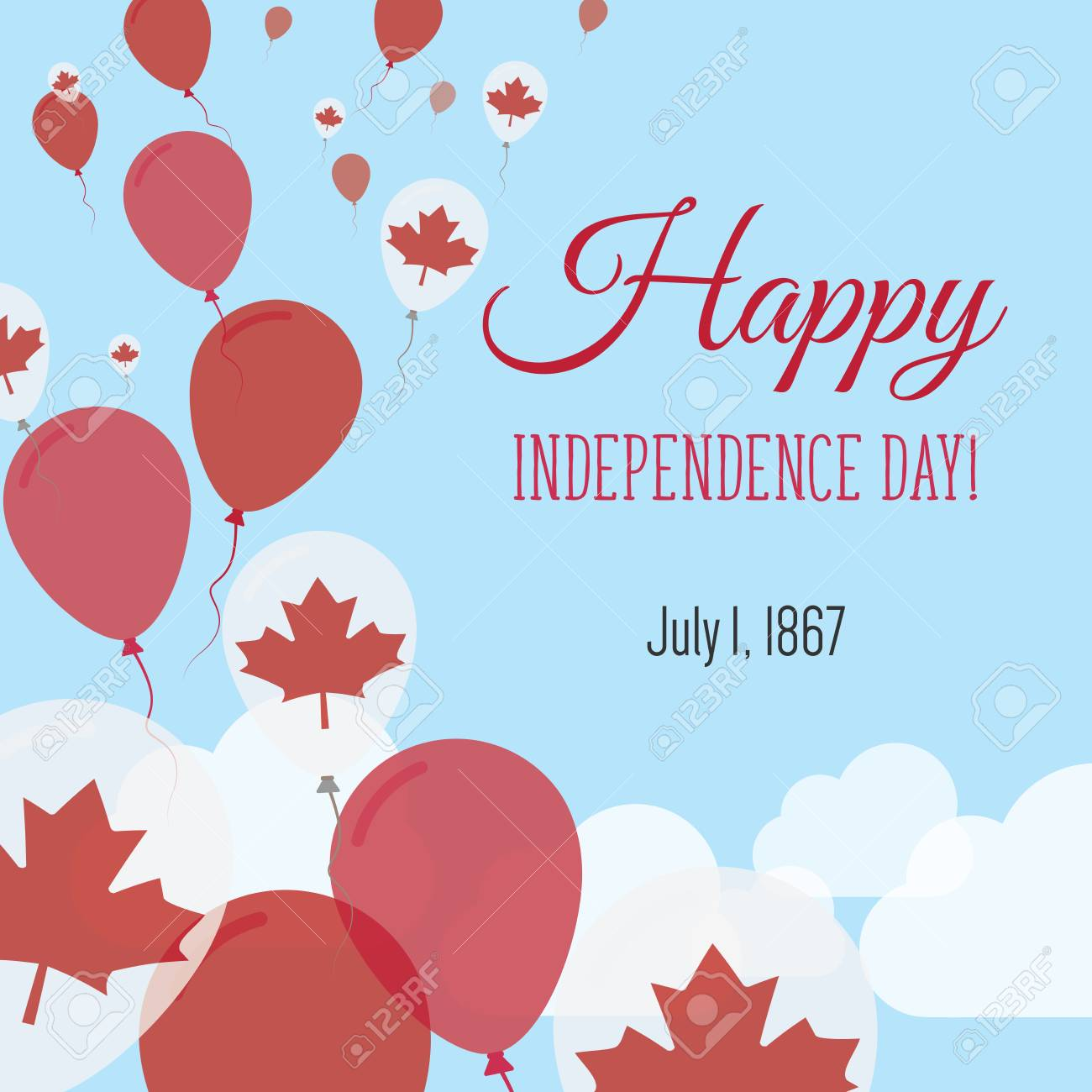 Independence day flat greeting card canada independence day independence day flat greeting card canada independence day canadian flag balloons patriotic poster m4hsunfo