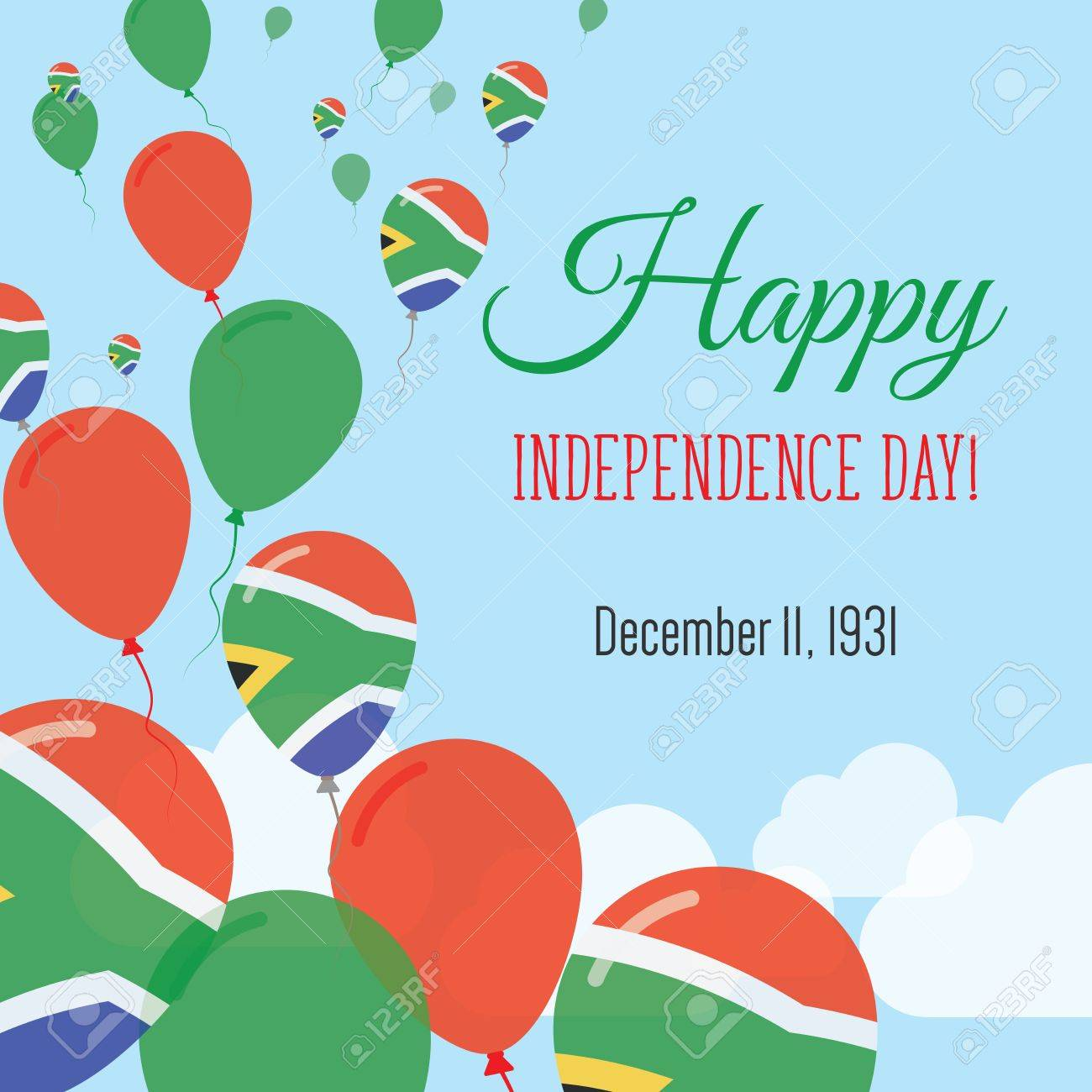 Independence day flat greeting card south africa independence independence day flat greeting card south africa independence day south african flag balloons patriotic m4hsunfo
