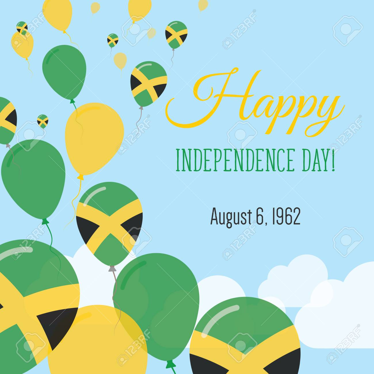 Independence Day Flat Greeting Card Jamaica Independence Day - Jamaica independence day