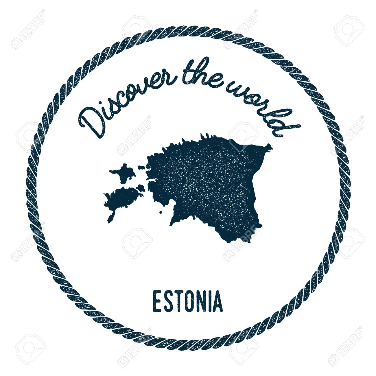 Vintage discover the world rubber stamp with estonia map hipster vector vintage discover the world rubber stamp with estonia map hipster style nautical postage stamp with round rope border vector illustration gumiabroncs Choice Image