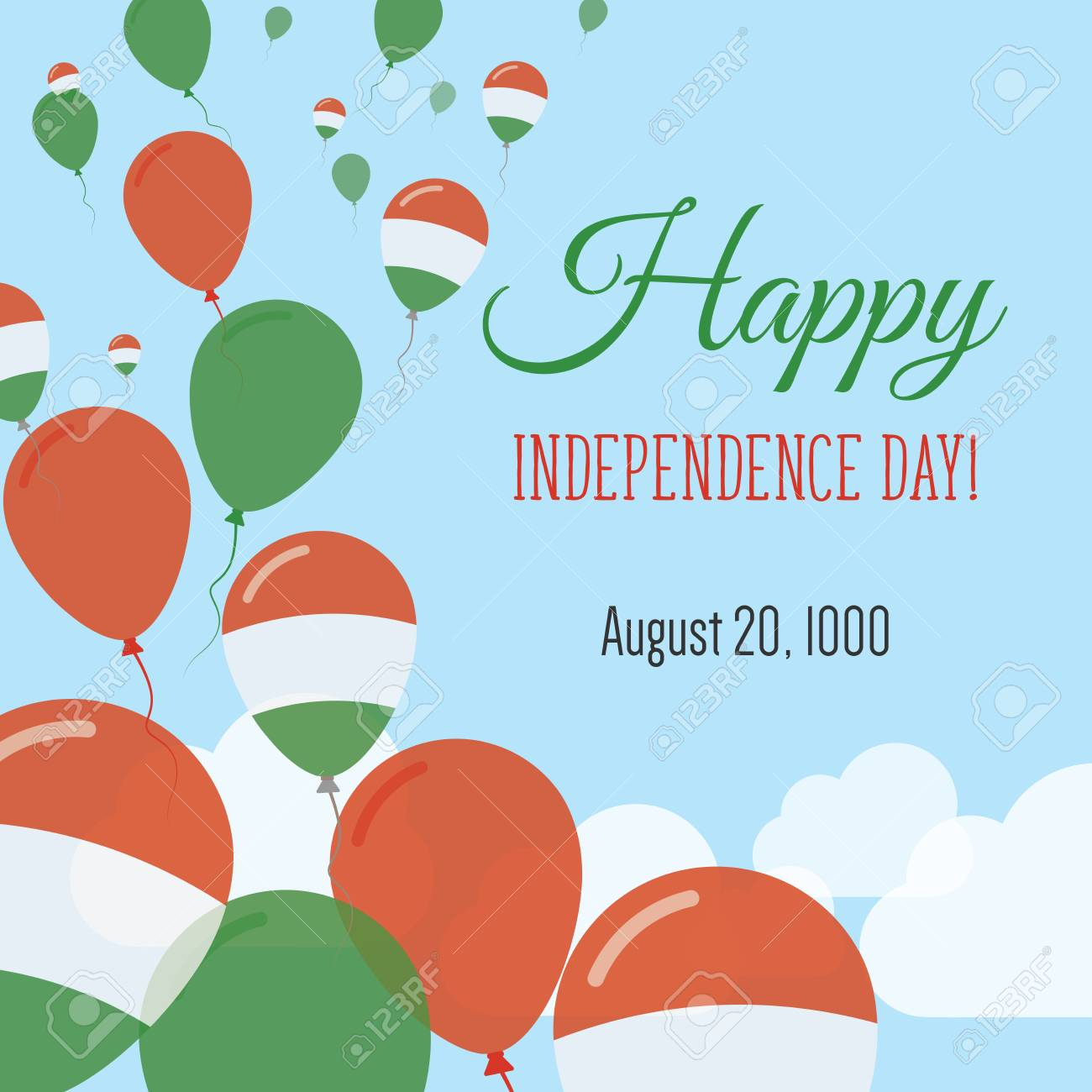 Independence day flat greeting card hungary independence day independence day flat greeting card hungary independence day hungarian flag balloons patriotic poster m4hsunfo