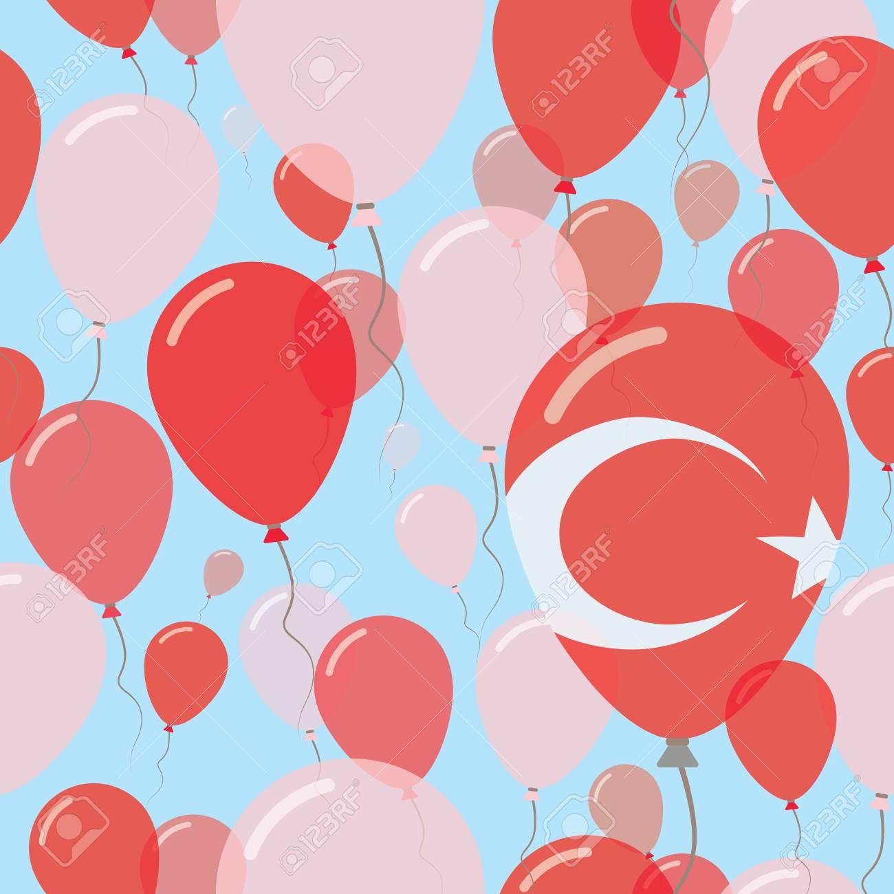 Truthahn-Nationalfeiertags-flaches Nahtloses Muster. Fliegende Feier ...