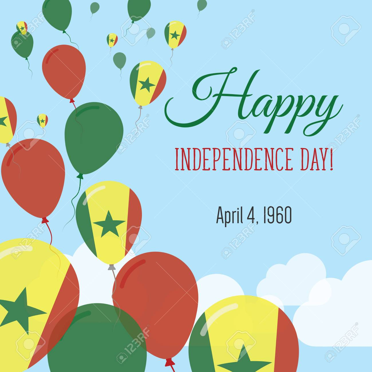 Independence day flat greeting card senegal independence day independence day flat greeting card senegal independence day senegalese flag balloons patriotic poster m4hsunfo