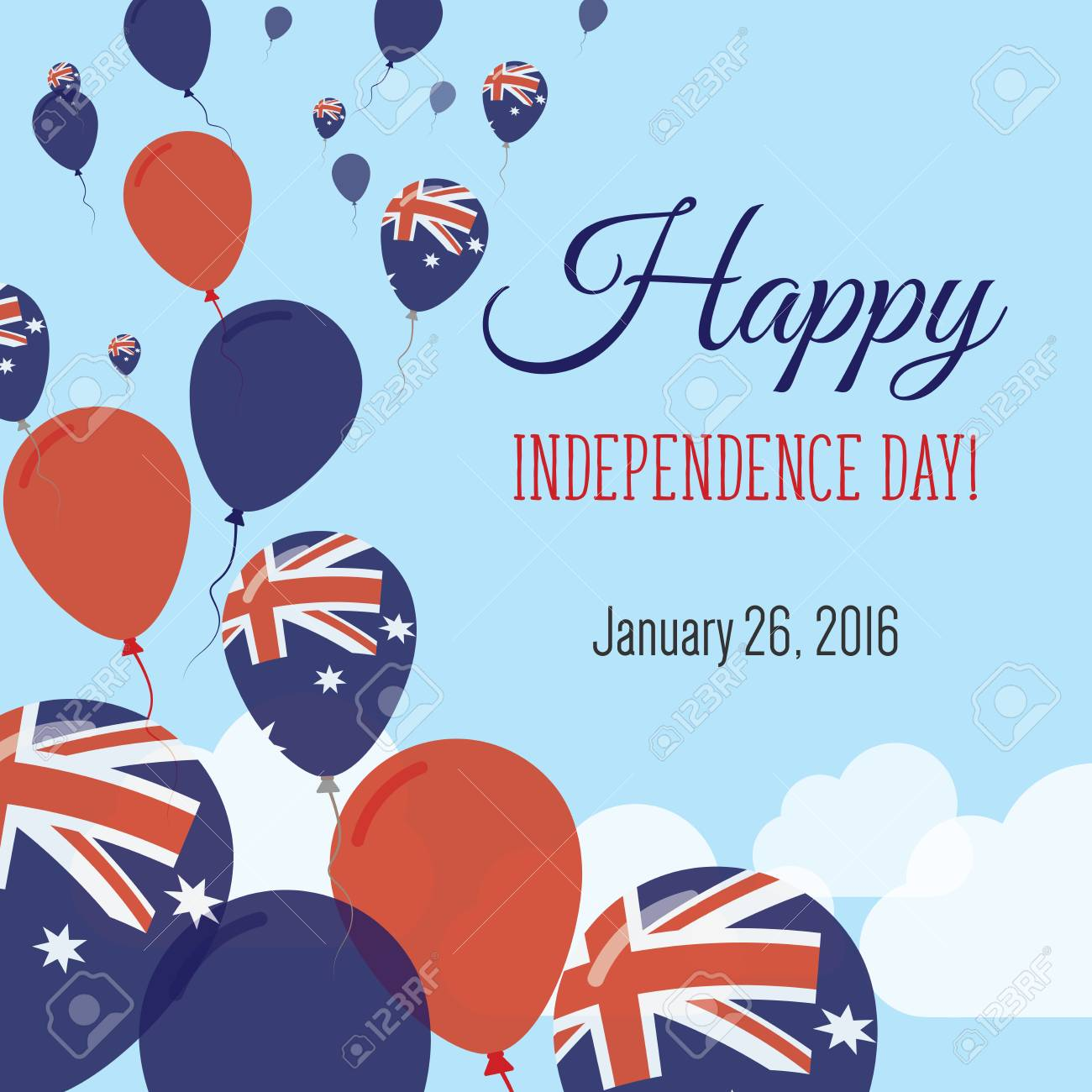 Independence day flat greeting card australia independence day independence day flat greeting card australia independence day australian flag balloons patriotic poster m4hsunfo