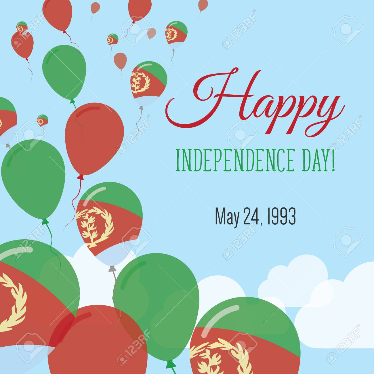 Independence Day Flat Greeting Card Eritrea Independence Day