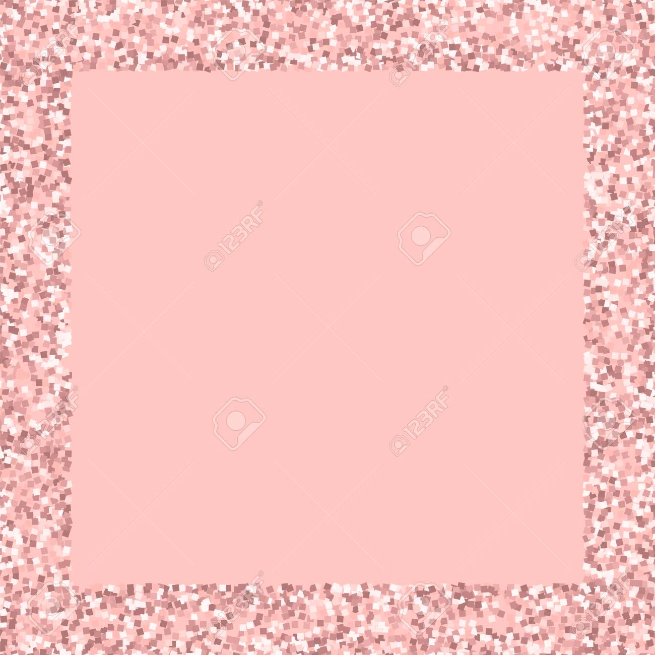 Pink Gold Glitter Square Scattered Border With On Background Stock
