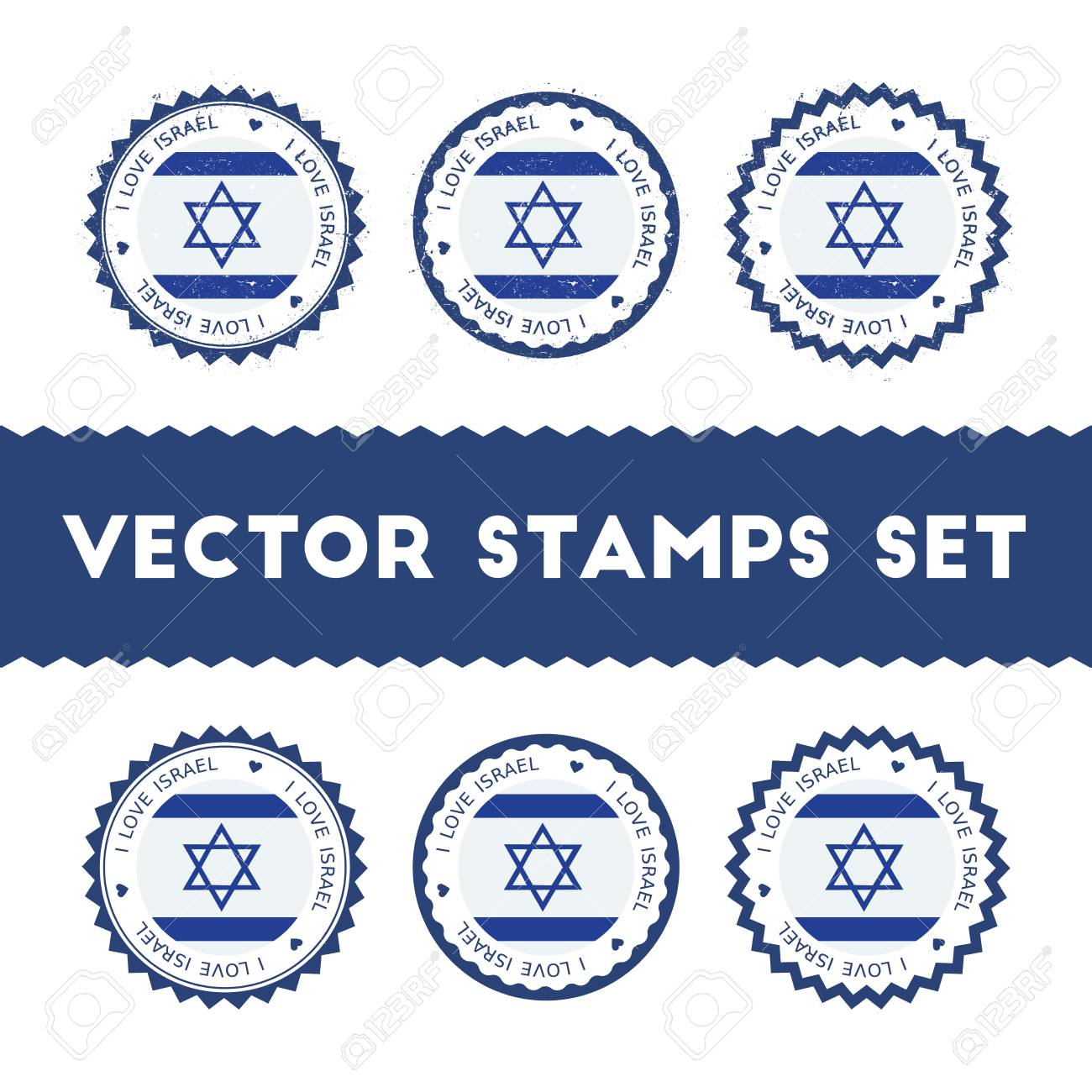 I Love Israel Vector Stamps Set Retro Patriotic Country Flag