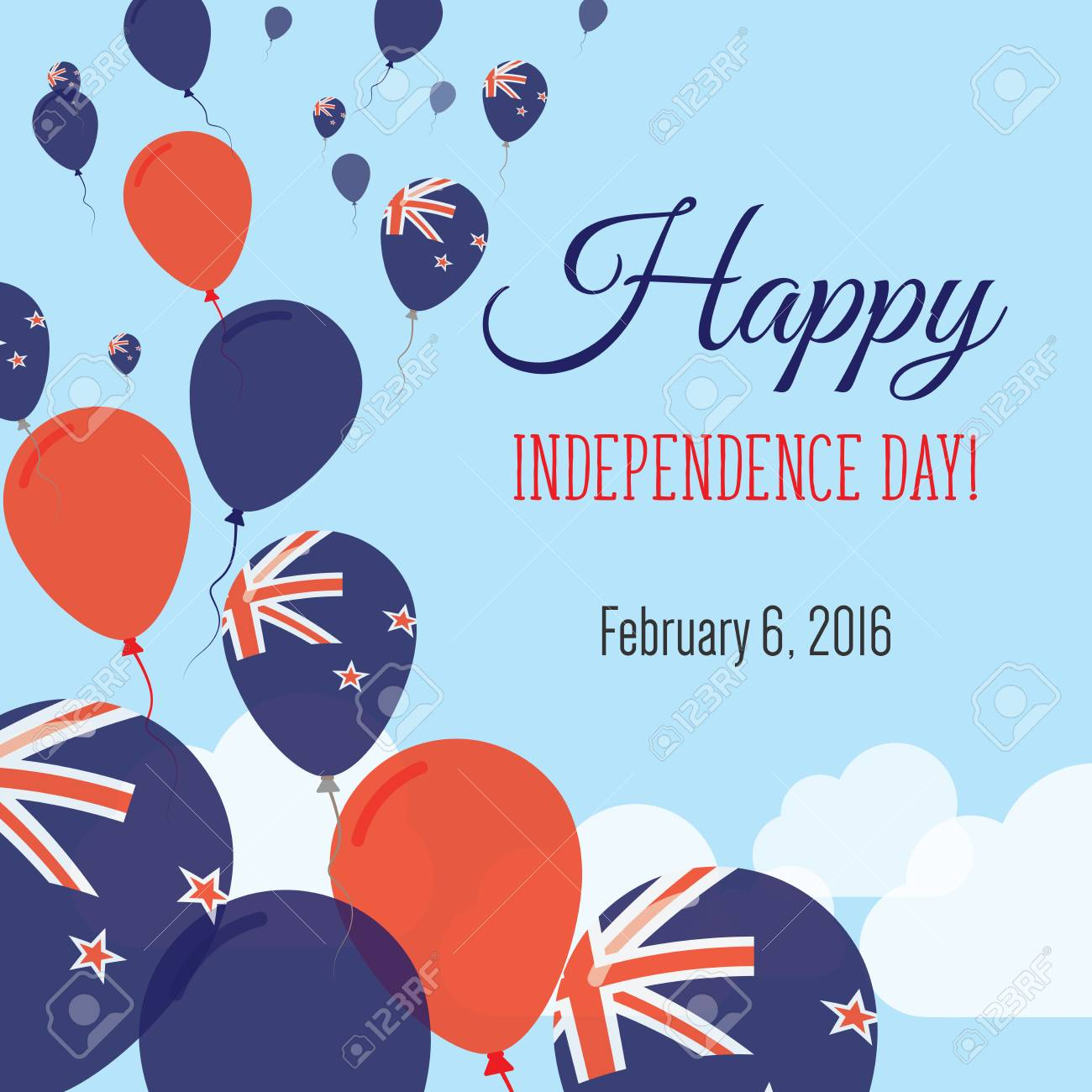 Independence Day Flat Greeting Card New Zealand Independence