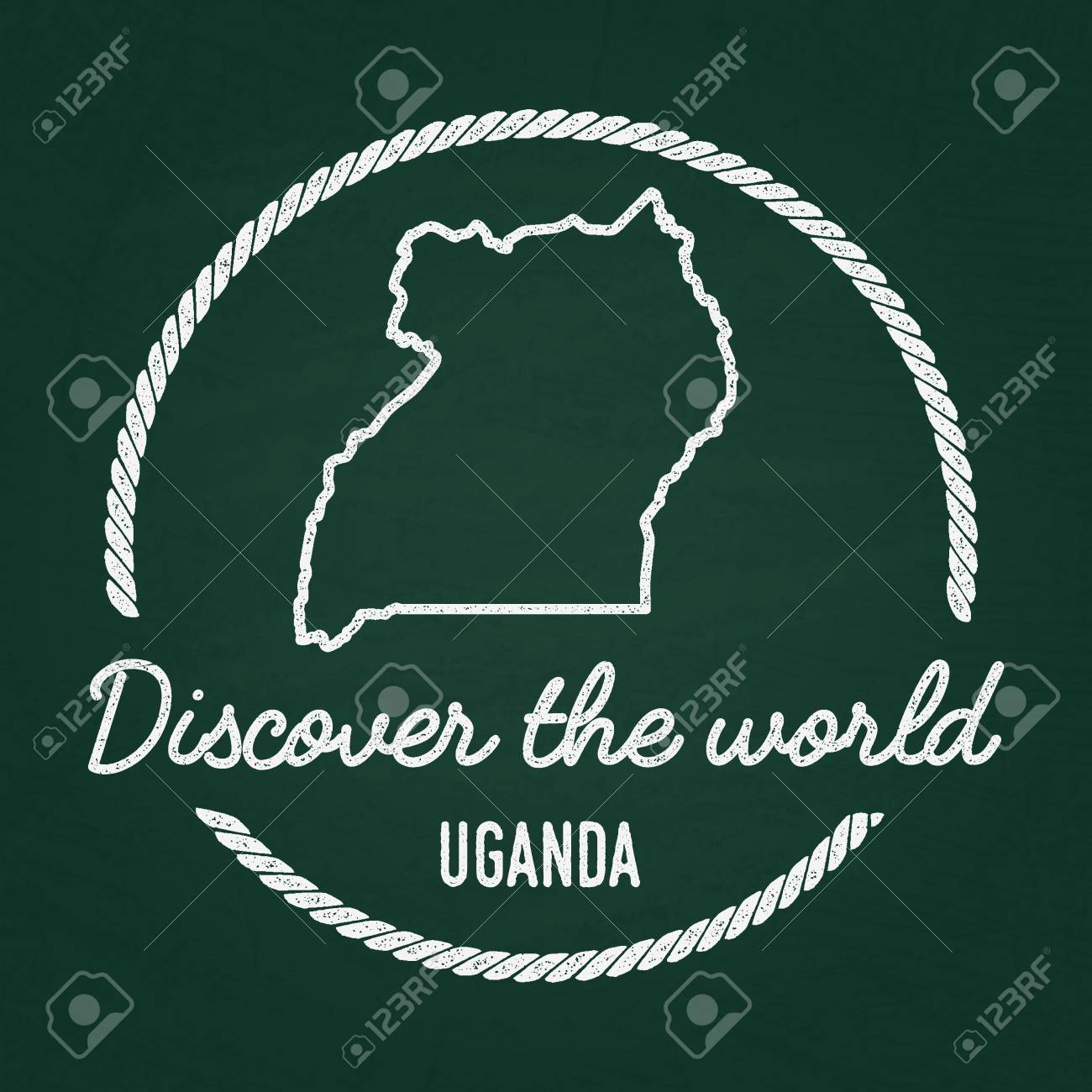 White Chalk Texture Hipster Insignia With Republic Of Uganda