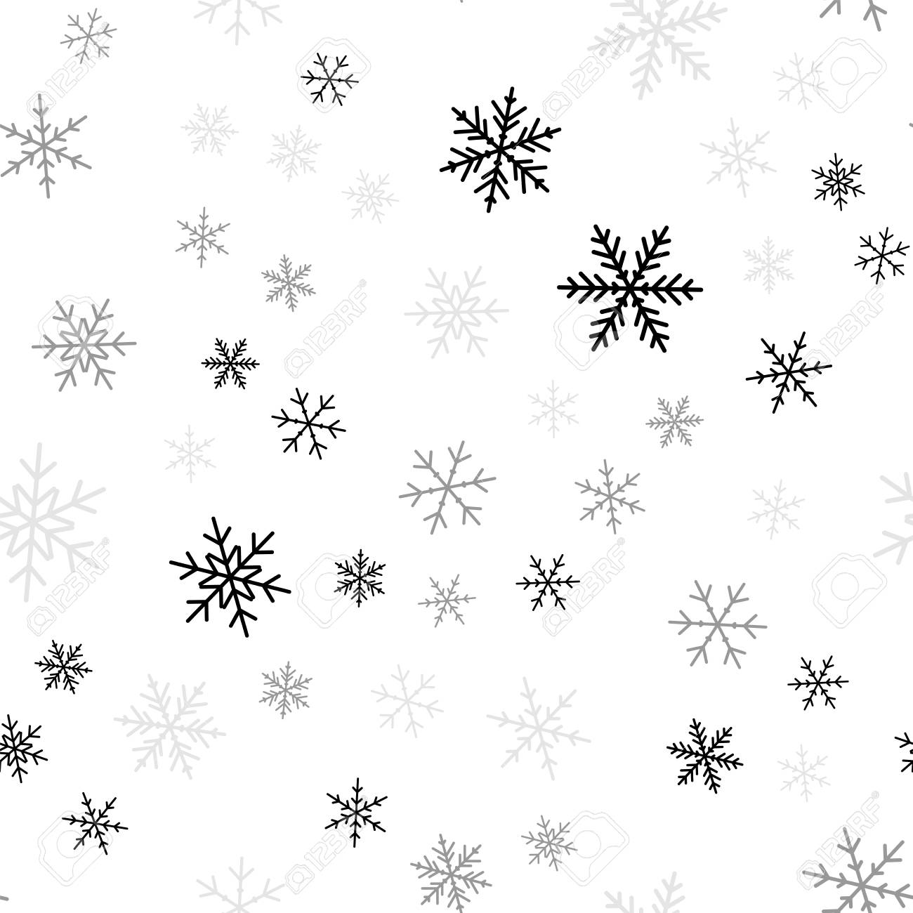 Black snowflakes seamless pattern on white Christmas background. Chaotic scattered black snowflakes. Delightful Christmas creative pattern. Vector illustration. - 95535633
