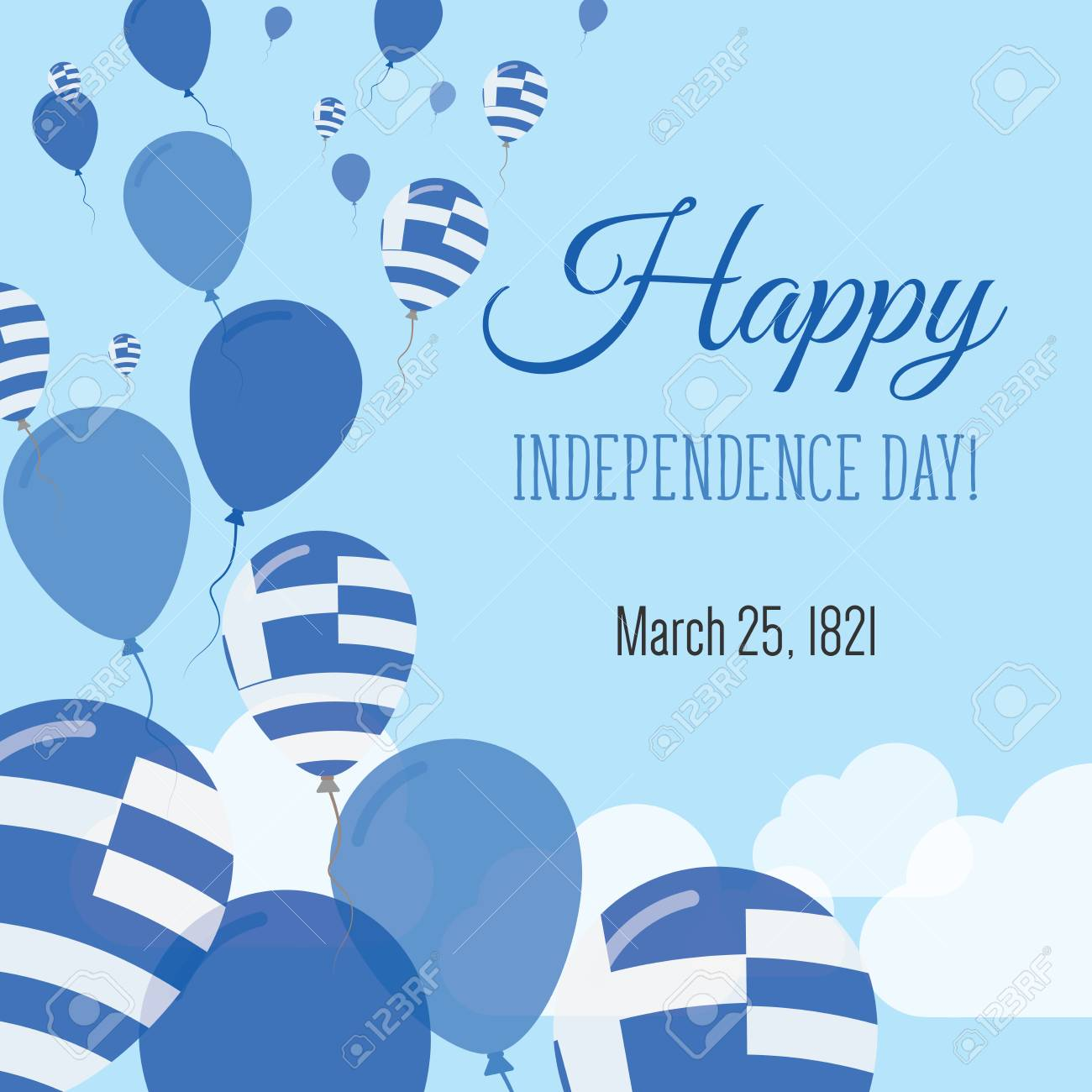 Independence day flat greeting card greece independence day independence day flat greeting card greece independence day greek flag balloons patriotic poster m4hsunfo