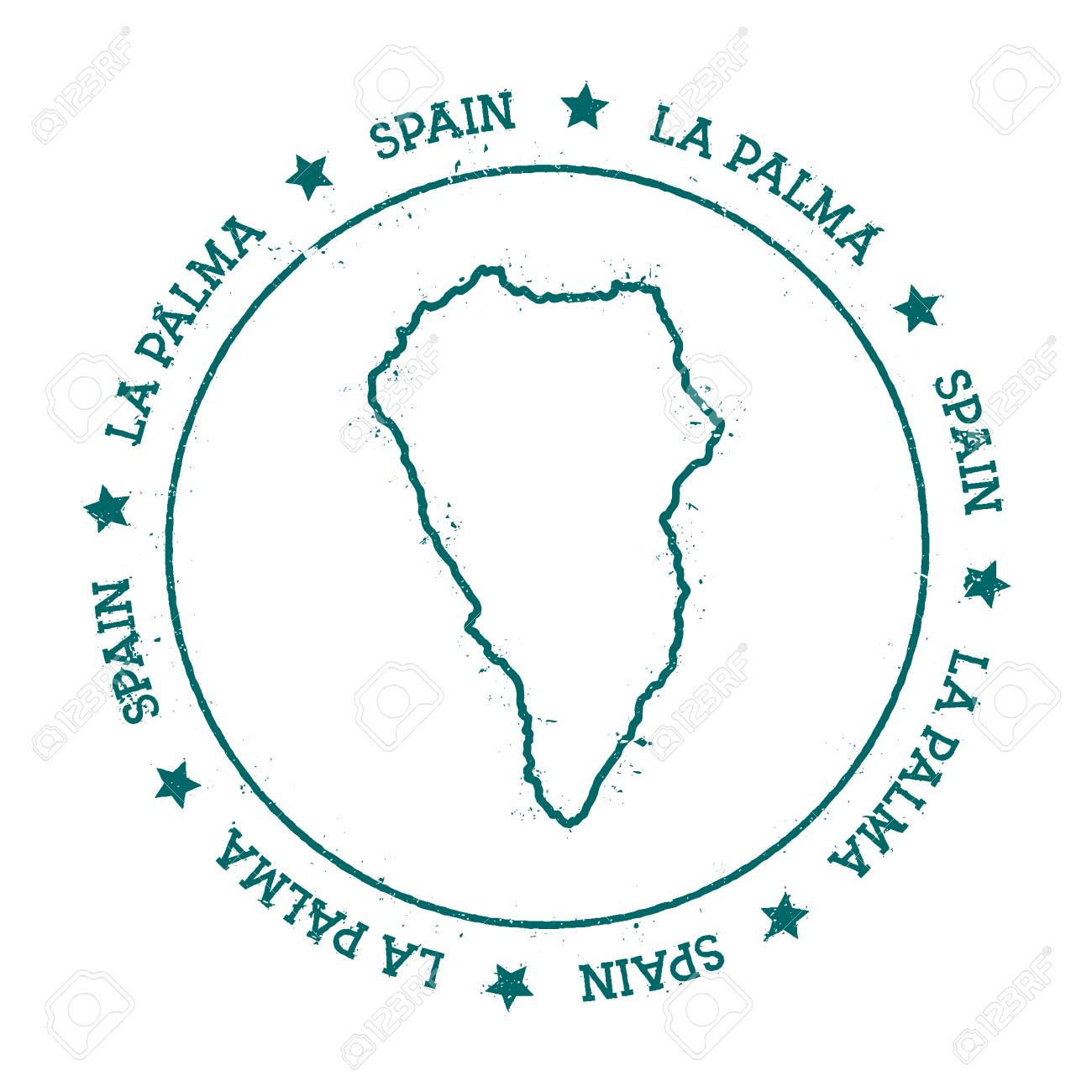 La Palma vector map. Distressed travel stamp with text wrapped..