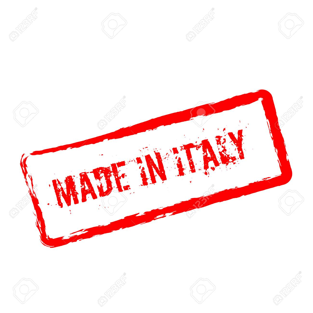 1f856281c0 Made in Italy red rubber stamp isolated on white background. Grunge  rectangular seal with text