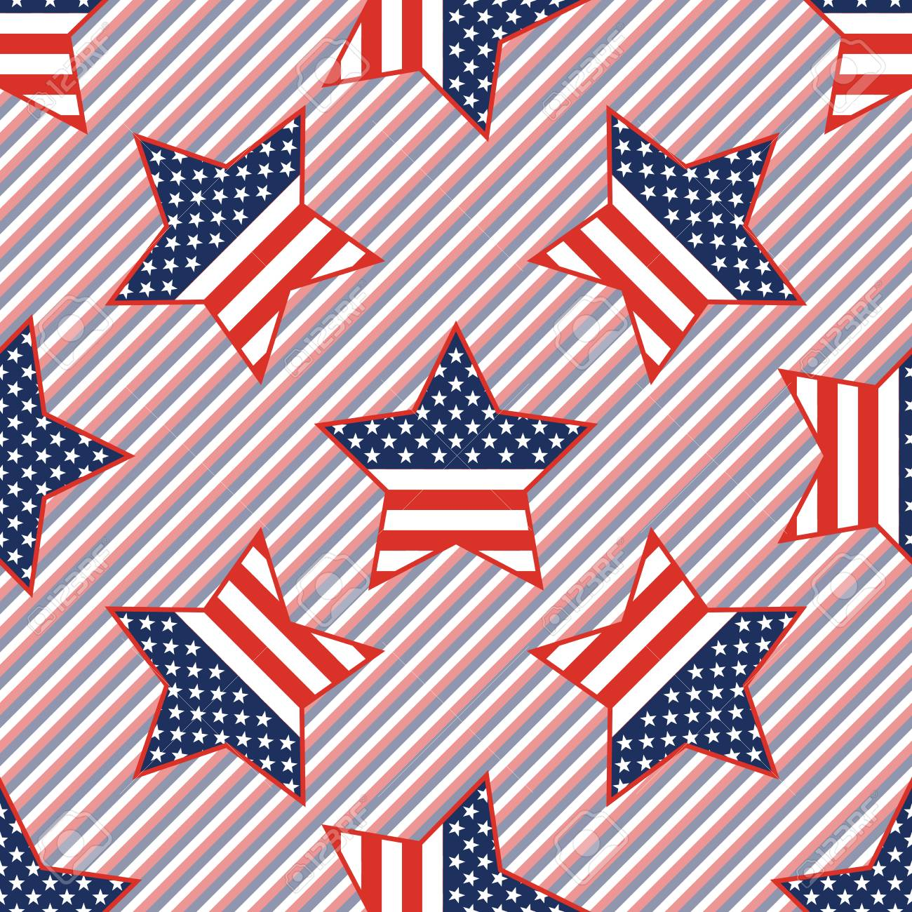 USA patriotic stars seamless pattern on red and blue stripes background. American patriotic wallpaper,