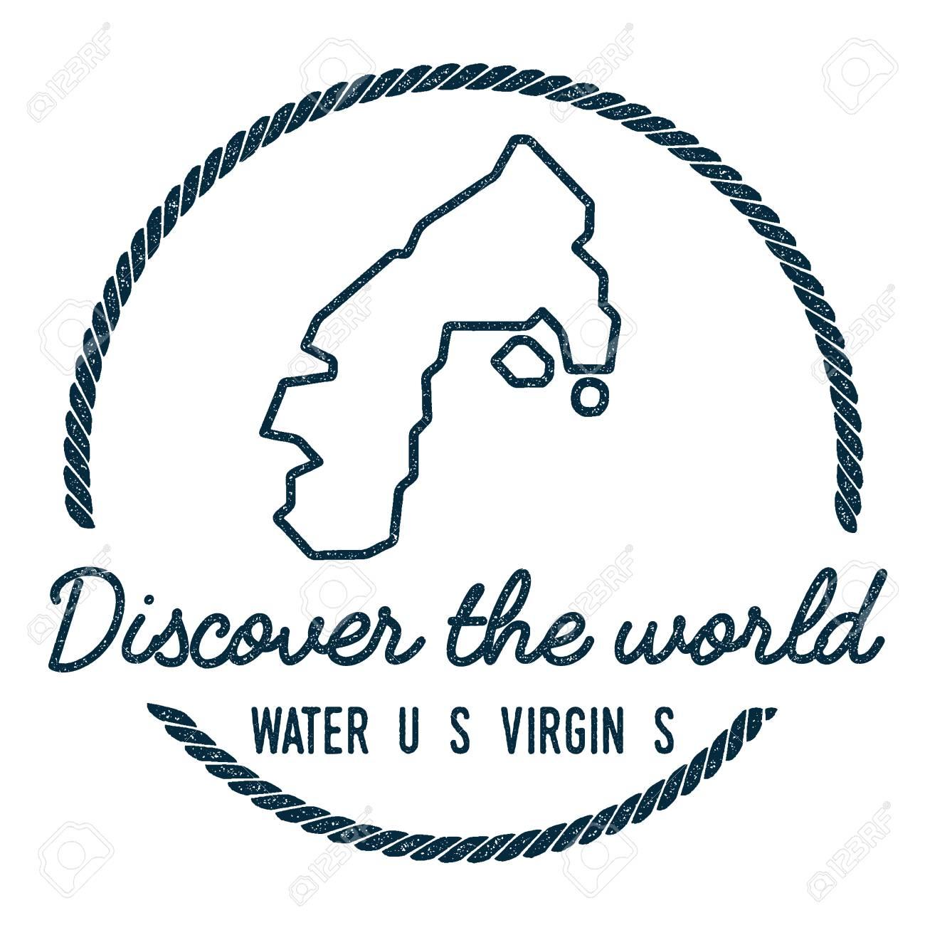 Water Island, U.S. Virgin Islands Map Outline. Vintage Discover ...