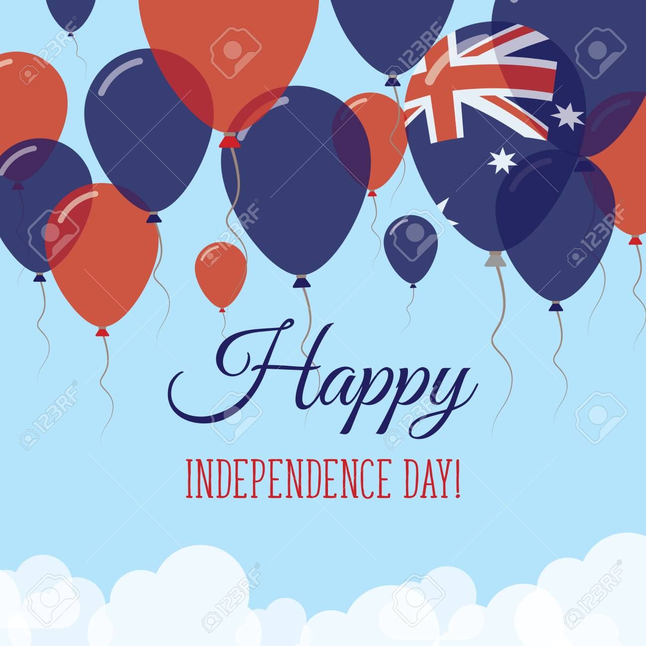 Australia Independence Day Flat Greeting Card Flying Rubber