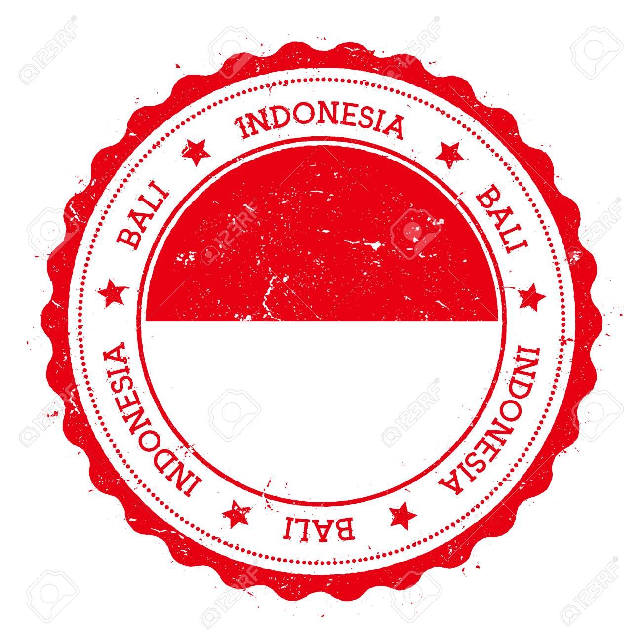 Bali Flag Badge Vintage Travel Stamp With Circular Text Stars