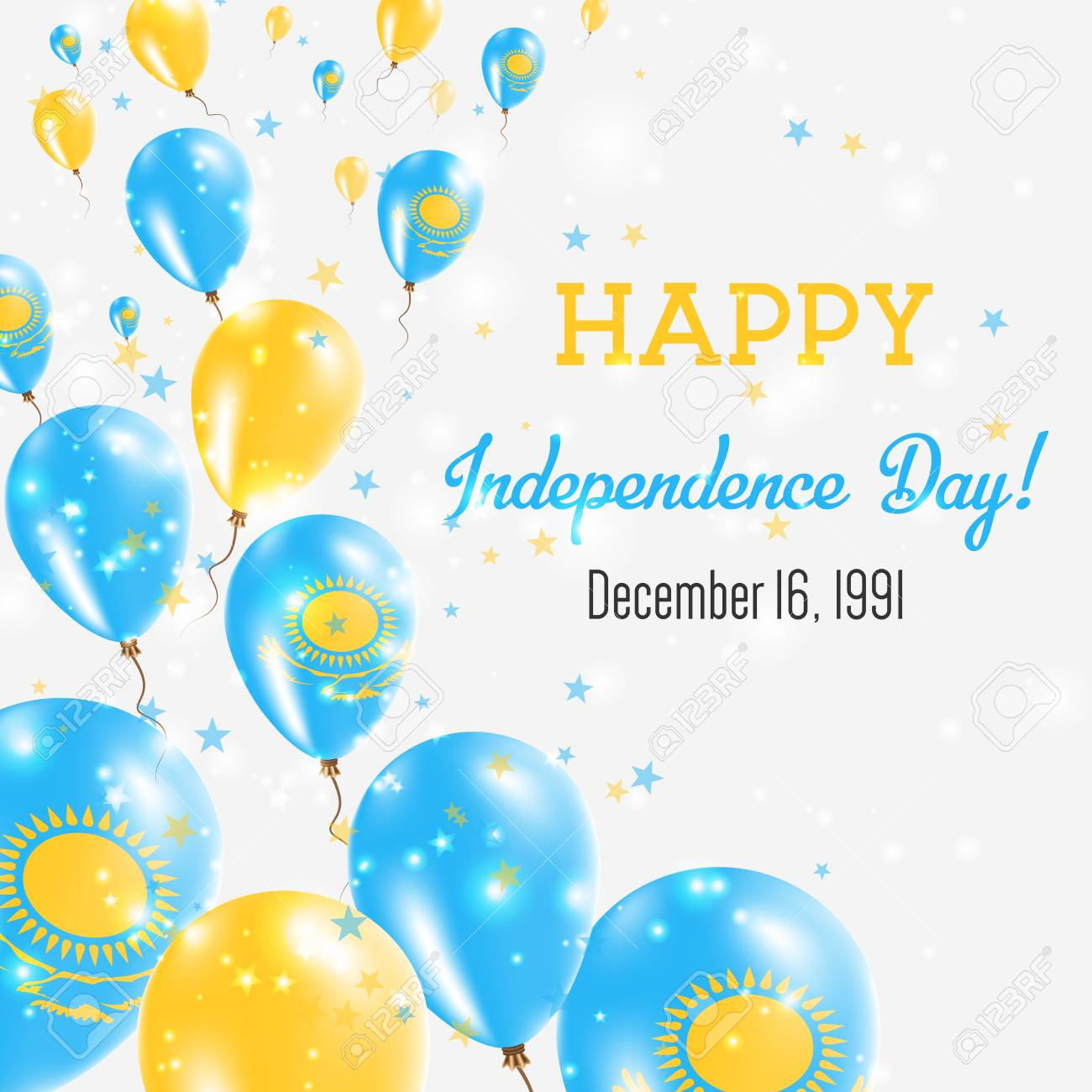 Independence Day.Kazakhstan Independence Day Greeting Card Flying Balloons In