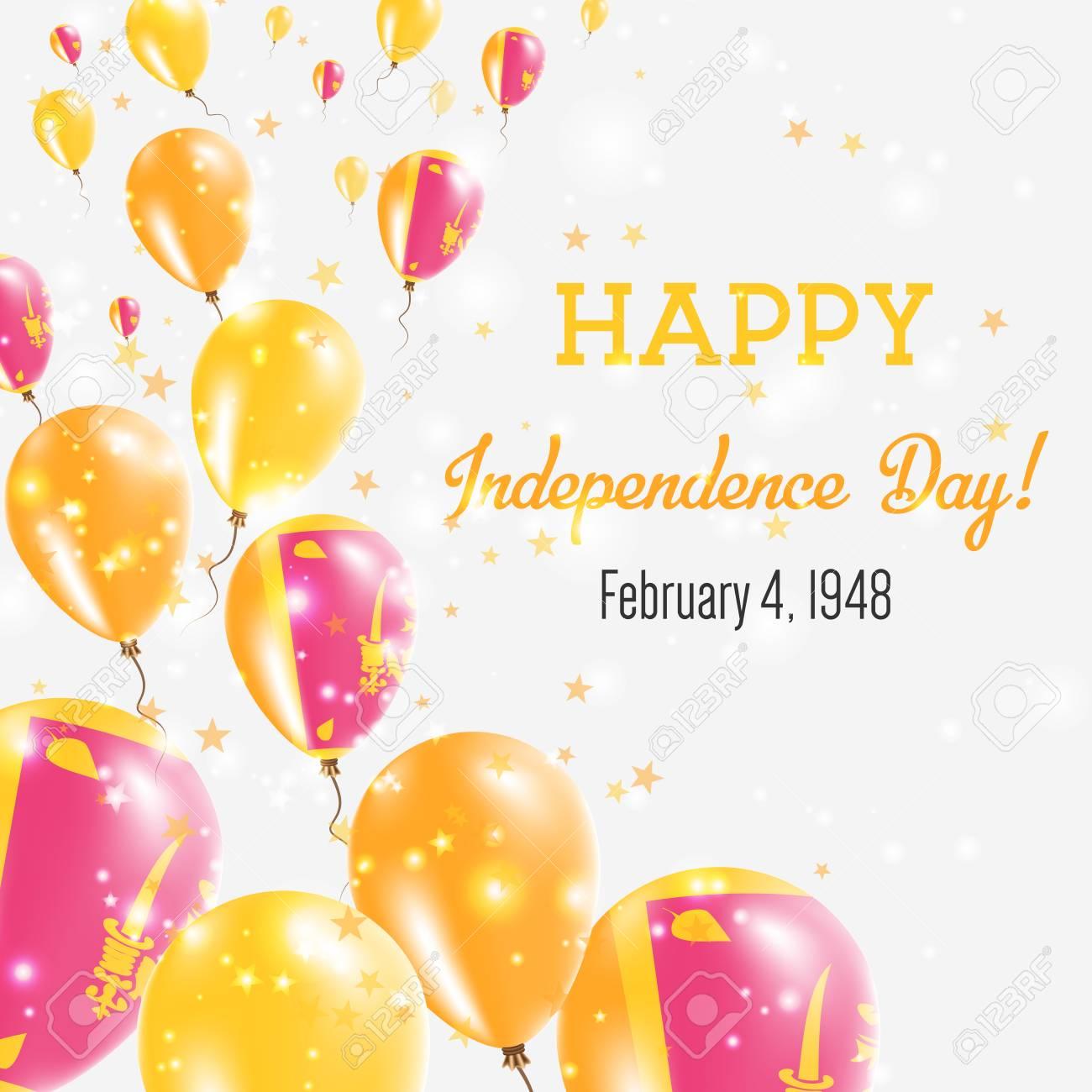 Sri lanka independence day greeting card flying balloons in sri lanka independence day greeting card flying balloons in sri lanka national colors happy m4hsunfo