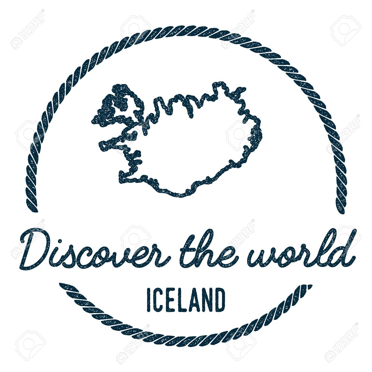 Iceland Map Outline. Vintage Discover the World Rubber Stamp..