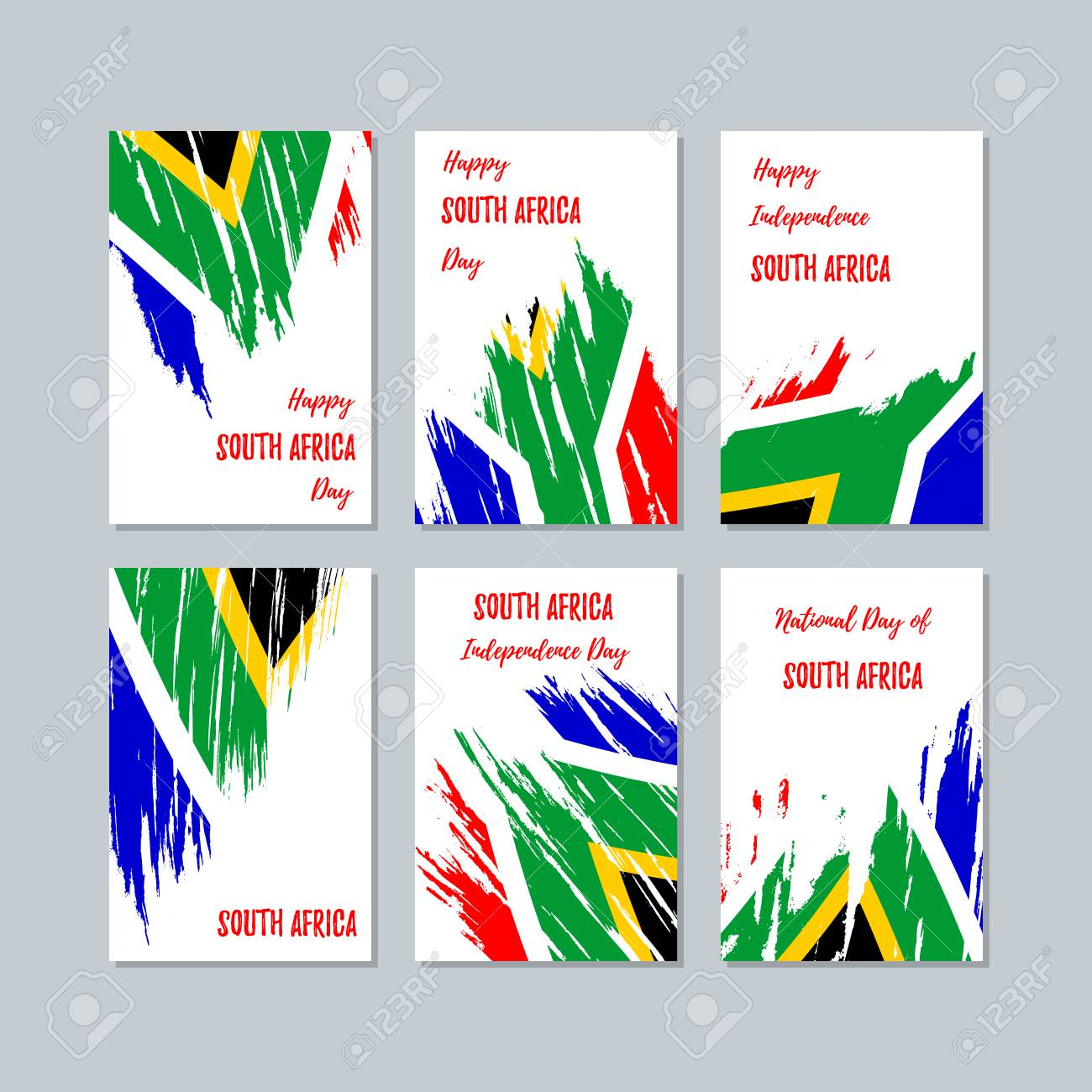 South Africa Patriotic Cards For National Day Expressive Brush