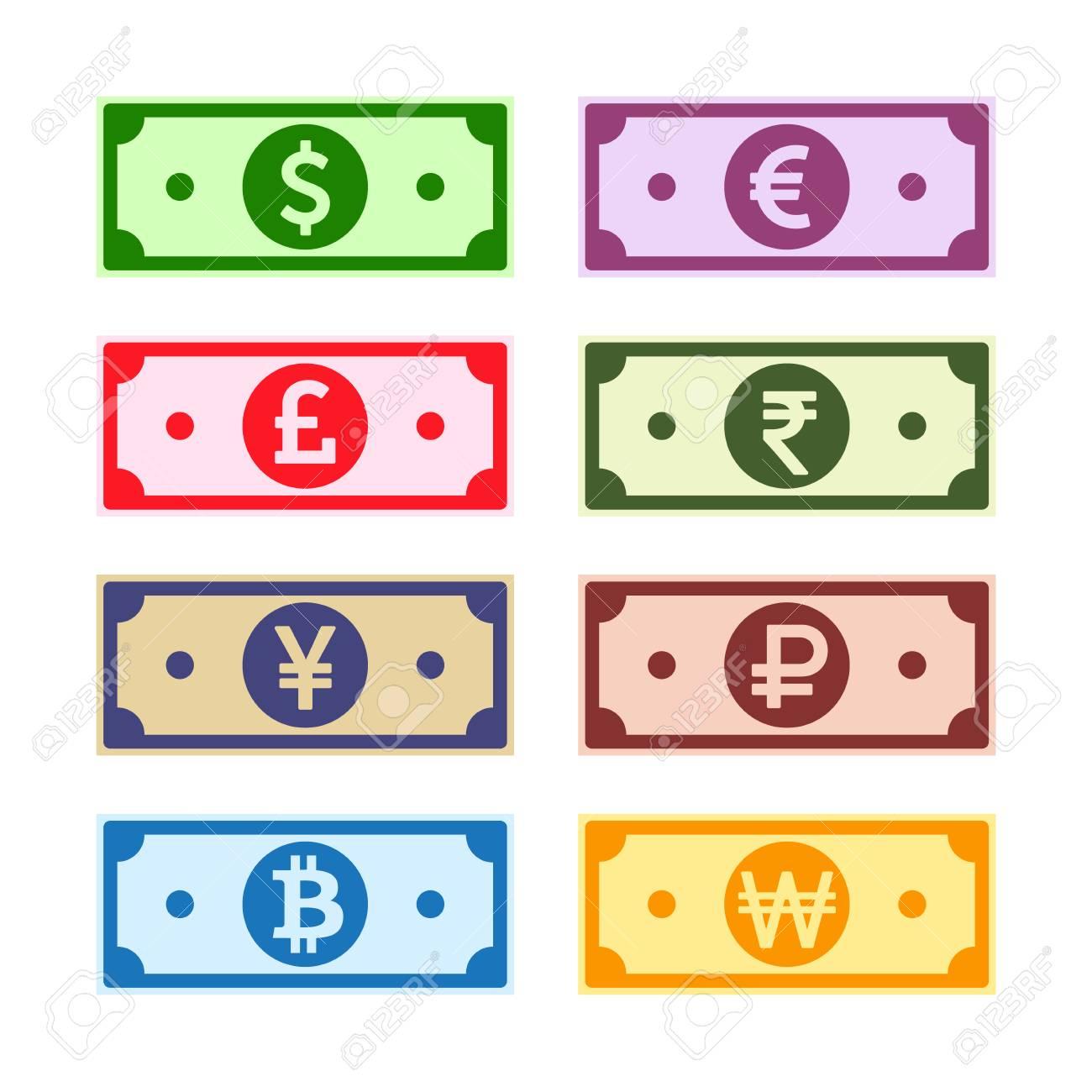 Money paper notes collection  US Dollar, UK Pound, Euro, Yen,