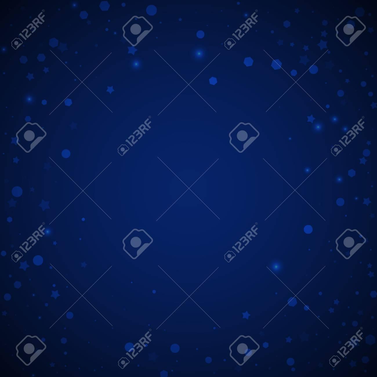 Magic stars random Christmas background. Subtle flying snow flakes and stars on dark blue night background. Amazing winter silver snowflake overlay template. Stunning vector illustration. - 126652535